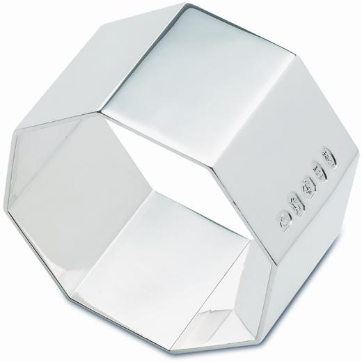 An image of Sterling Silver Hallmarked Octagonal Napkin Ring