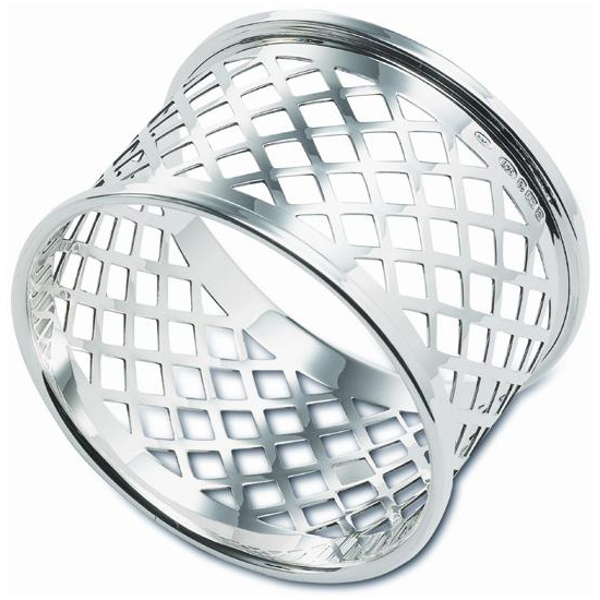 An image of Sterling Silver Hallmarked Basket Weave Napkin Ring