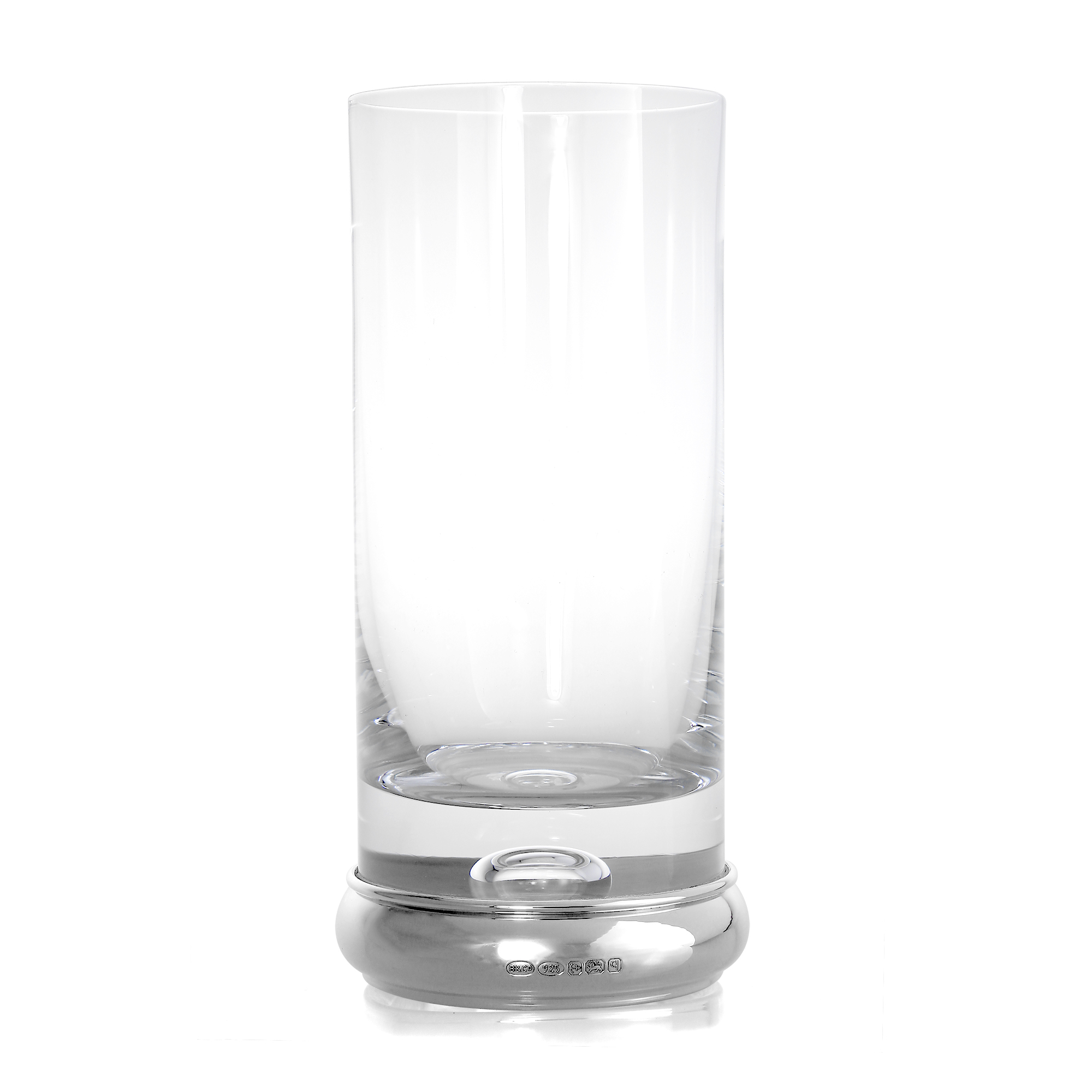 An image of Sterling Silver Based Engravable High Ball Glass Tumbler