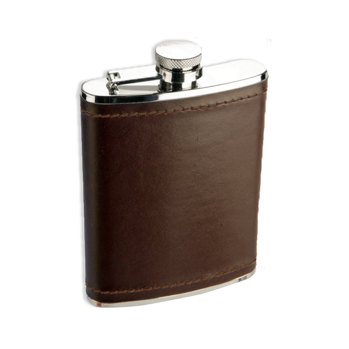 An image of 6oz Stainless Steel Burgundy Brown Leather Hip Flask