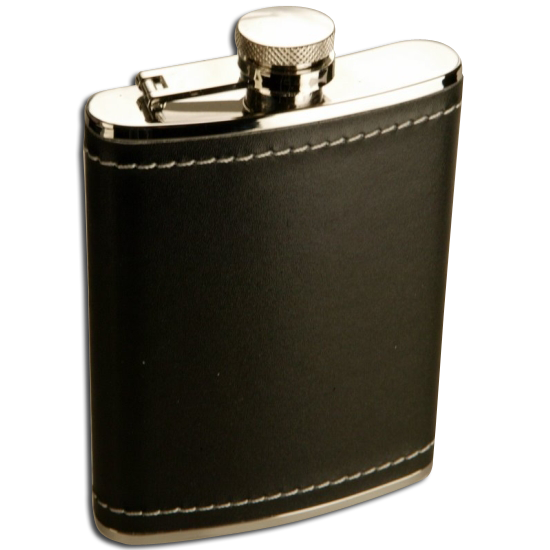 An image of 6oz Stainless Steel Black Leather Hip Flask