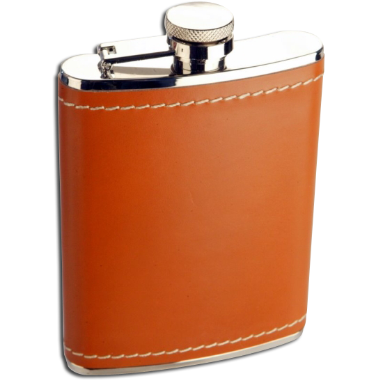 An image of 6oz Stainless Steel Tan Leather Hip Flask