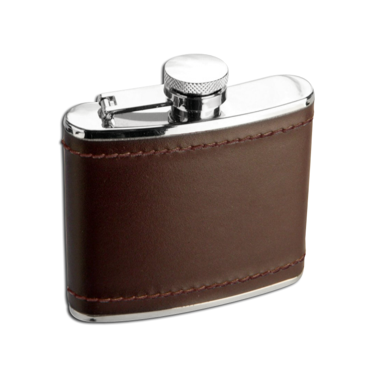 An image of 4oz Stainless Steel Deep Burgundy Leather Hip Flask