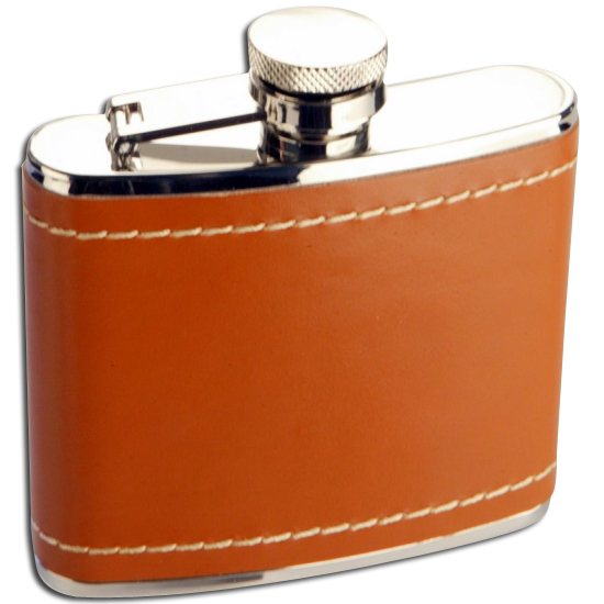 An image of 4oz Stainless Steel Tan Leather Hip Flask
