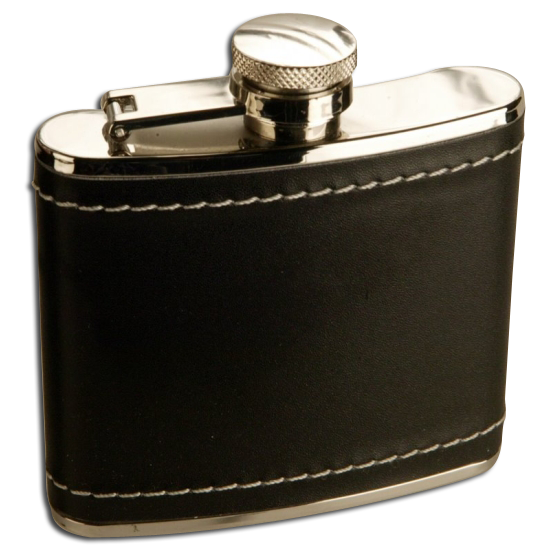 An image of 4oz Stainless Steel Black Leather Hip Flask
