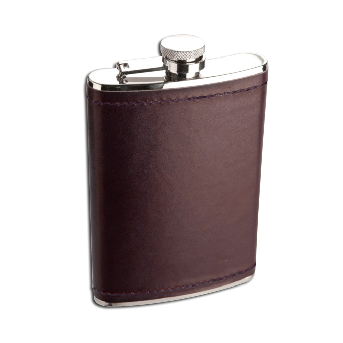 An image of 8oz Stainless Steel Deep Burgundy Leather Hip Flask