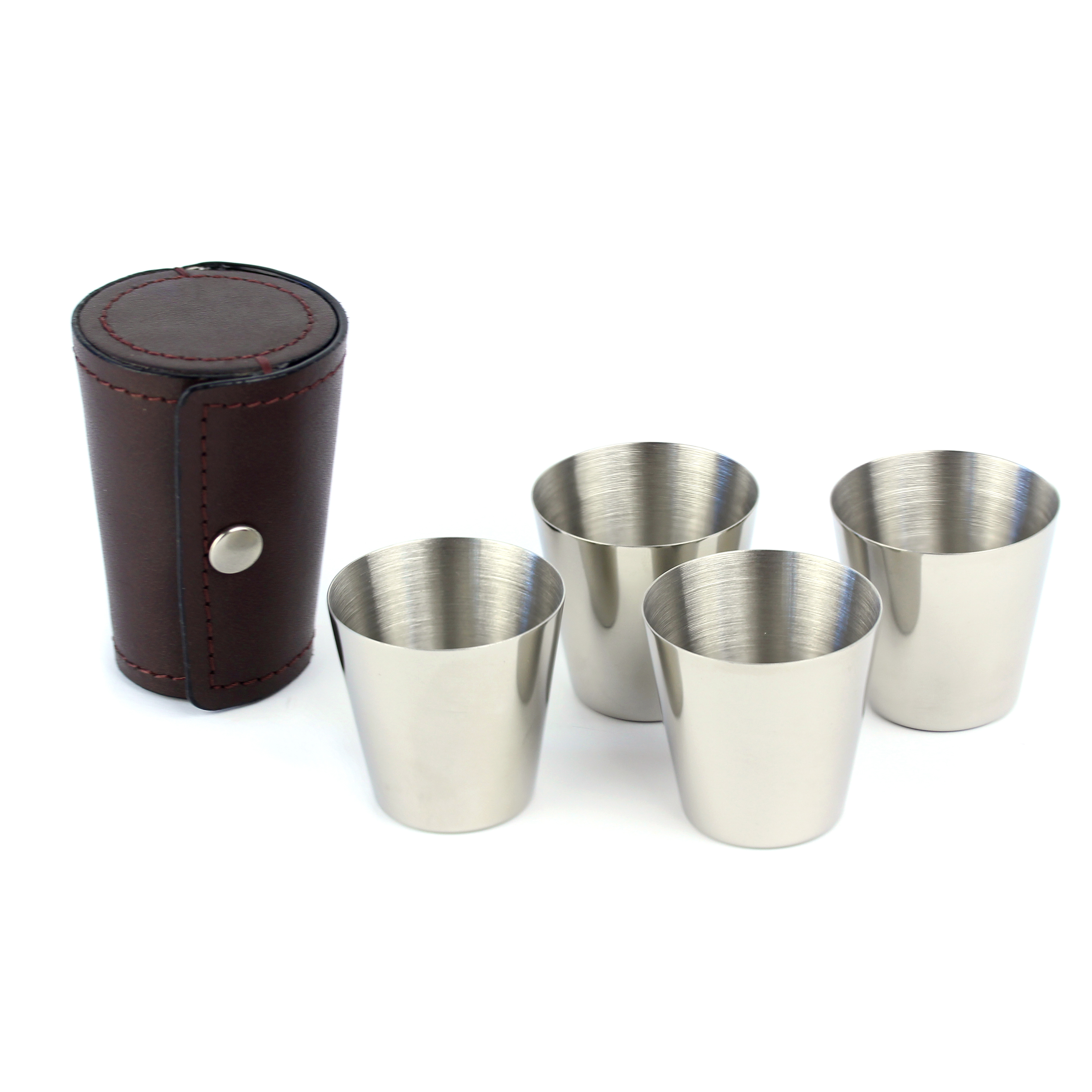 An image of 4 x Stainless Steel Nip Cups with Burgundy Brown Leather Pouch