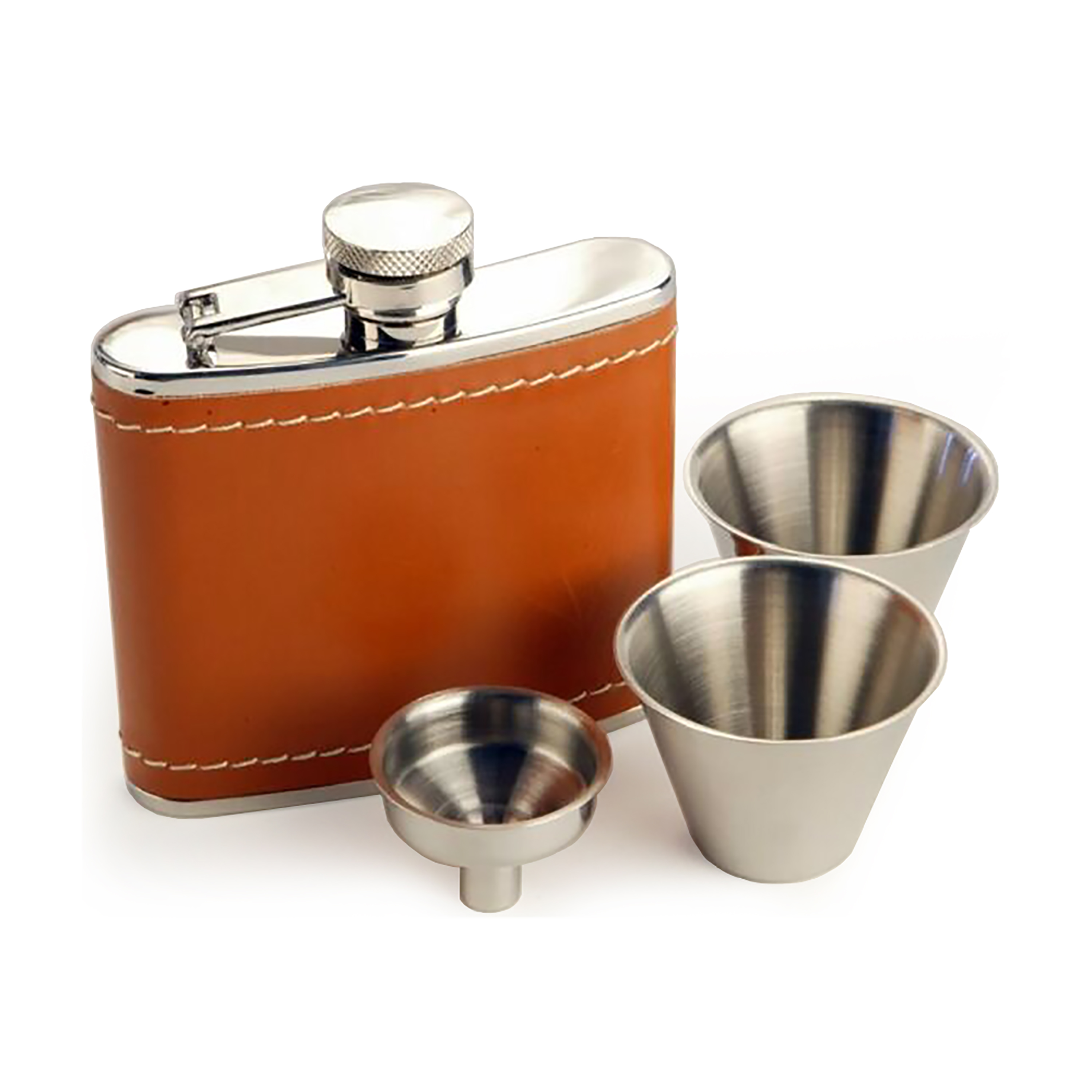 An image of 4oz Stainless Steel Tan Leather Hip Flask Gift Set