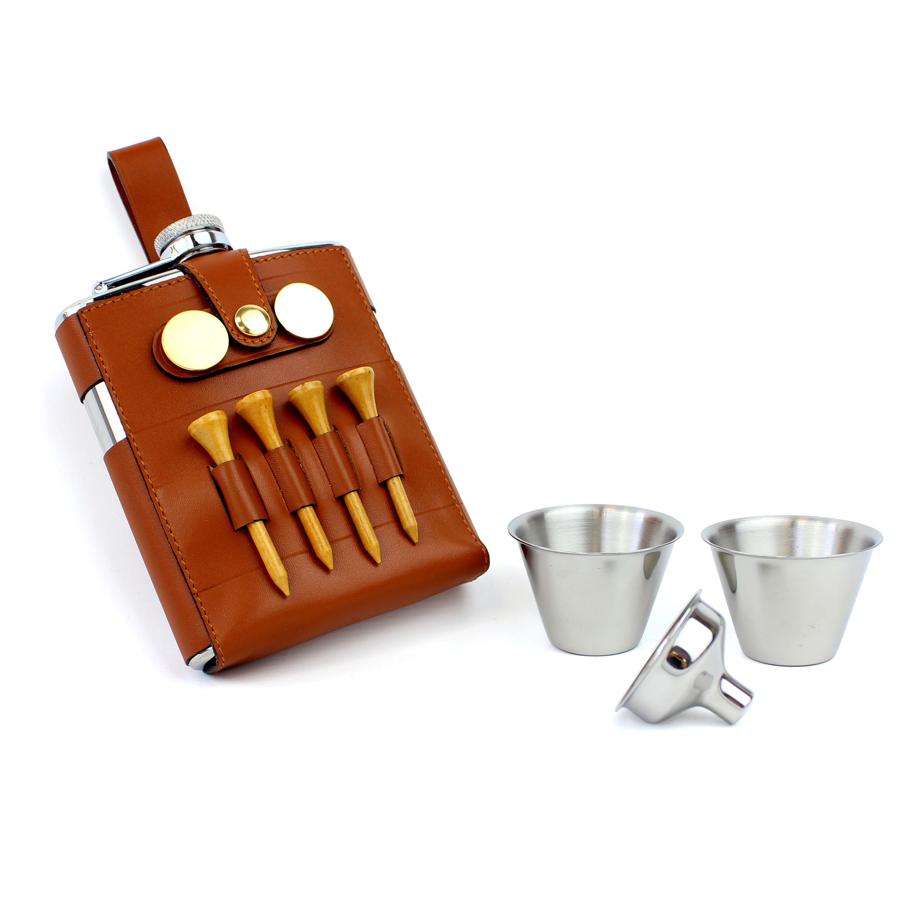 An image of 7oz Stainless Steel Leather Hip Flask Golf Gift Set