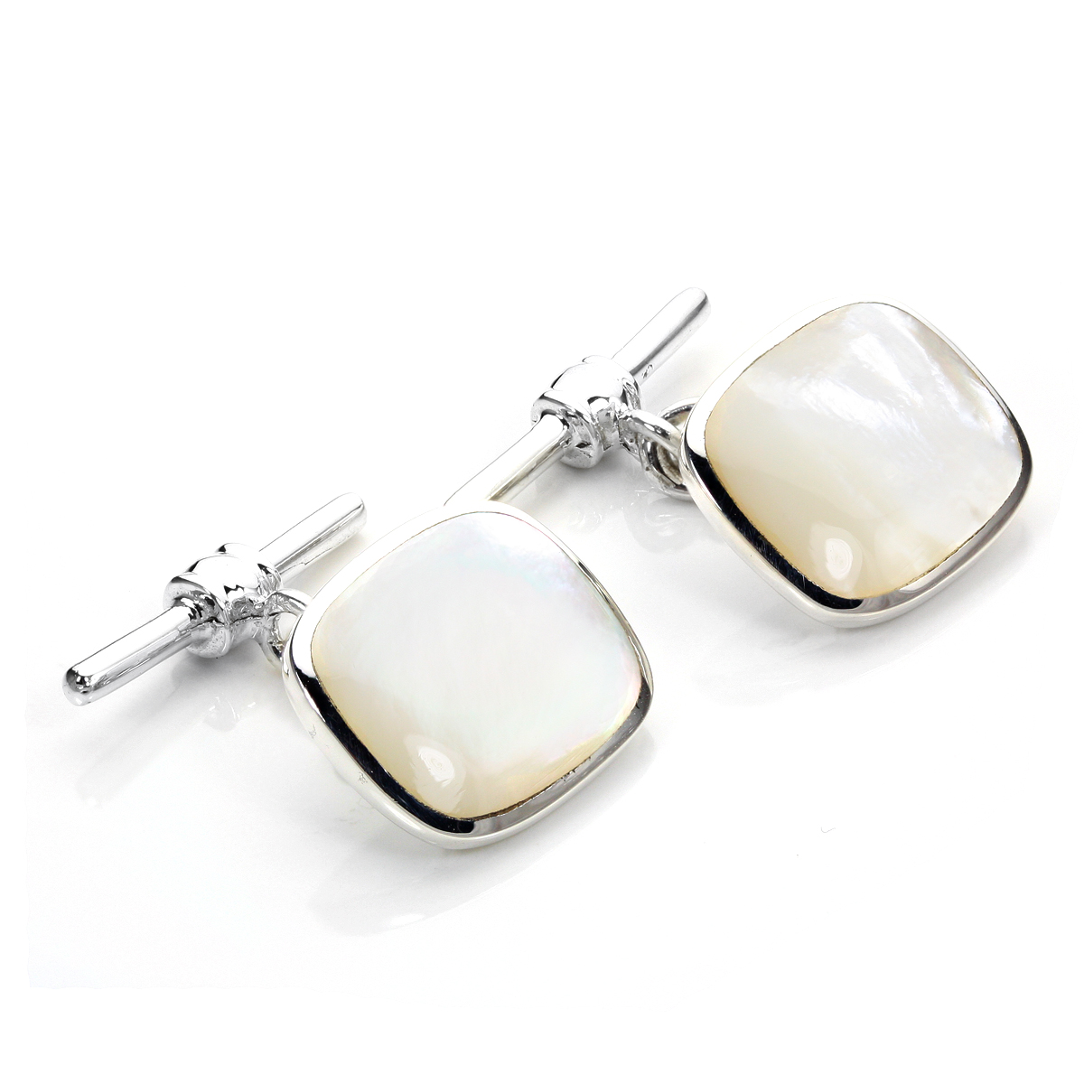 An image of Sterling Silver Oblong Mother of Pearl Toggle Cufflinks