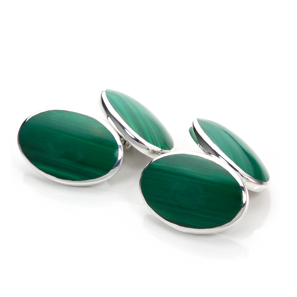 An image of Sterling Silver Double-Sided Oval Malachite Cufflinks