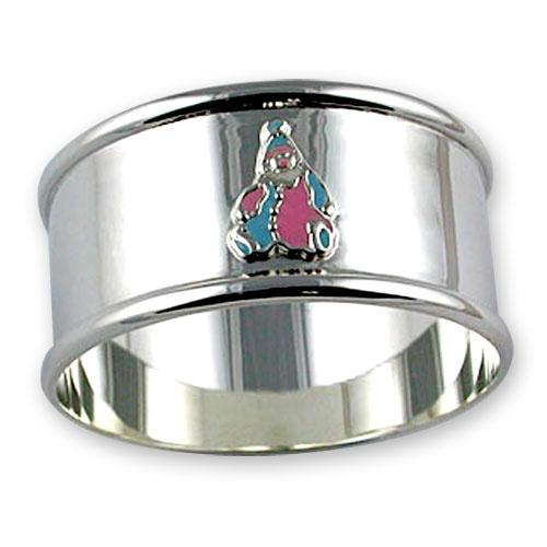 An image of Sterling Silver Enamelled Clown Napkin Ring