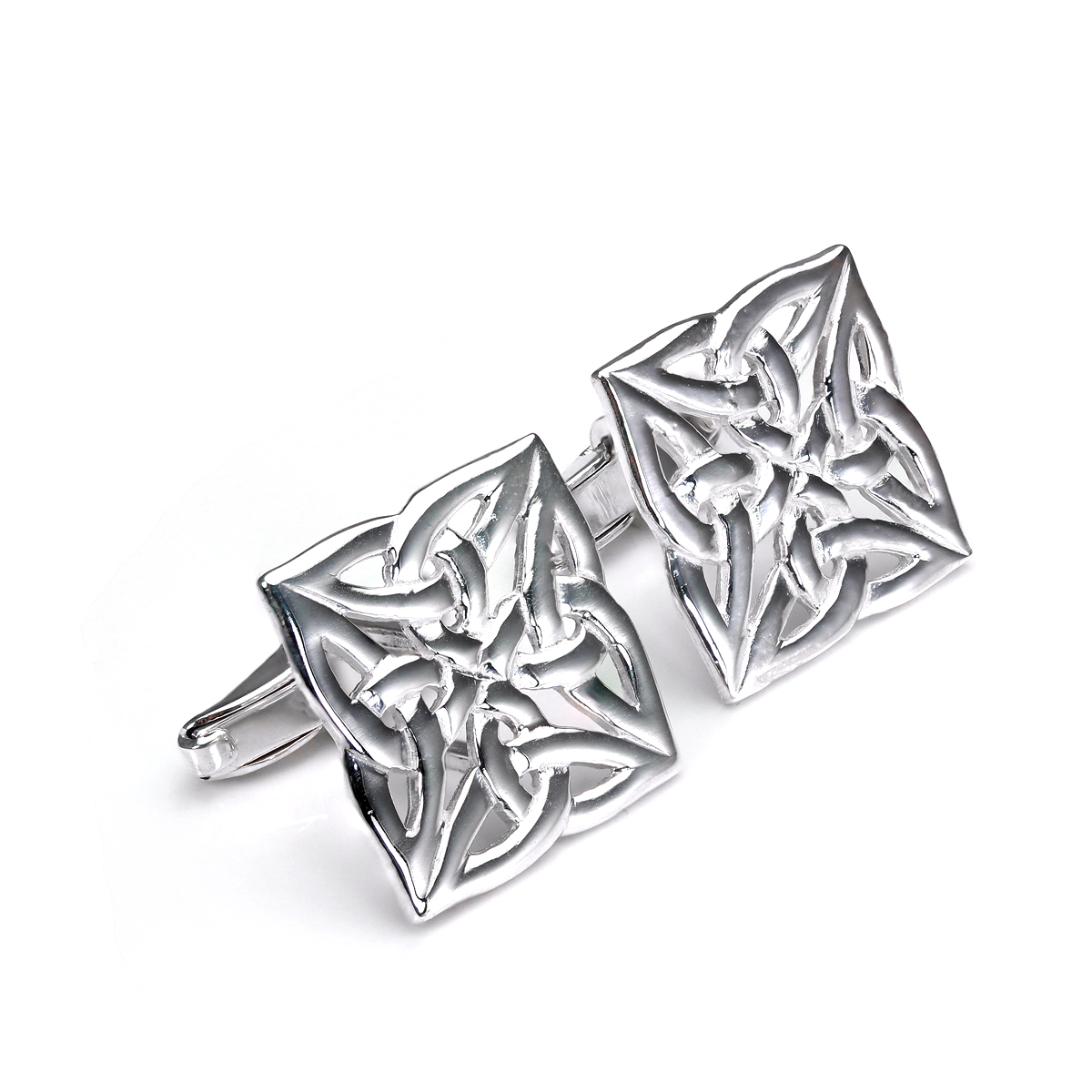 An image of Sterling Silver Celtic Weave Square Swivel Back Cufflinks