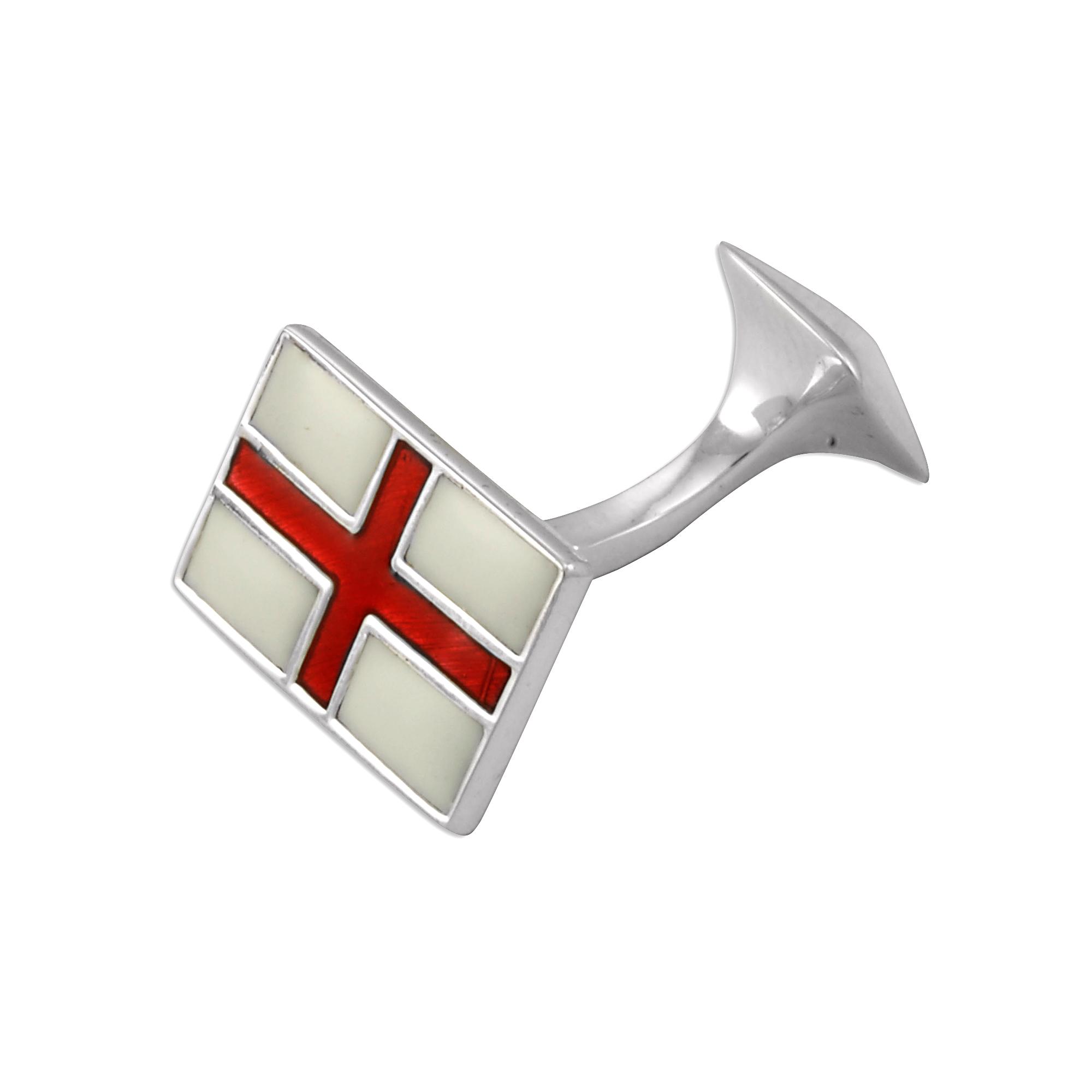 An image of Sterling Silver Enamel St. George Flag Cufflinks