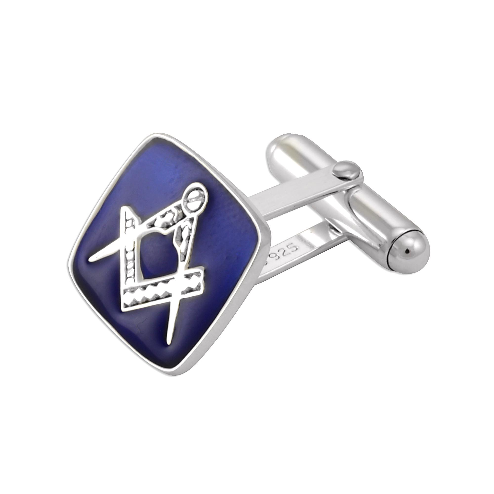 An image of Sterling Silver Masonic Blue Enamel Cufflinks