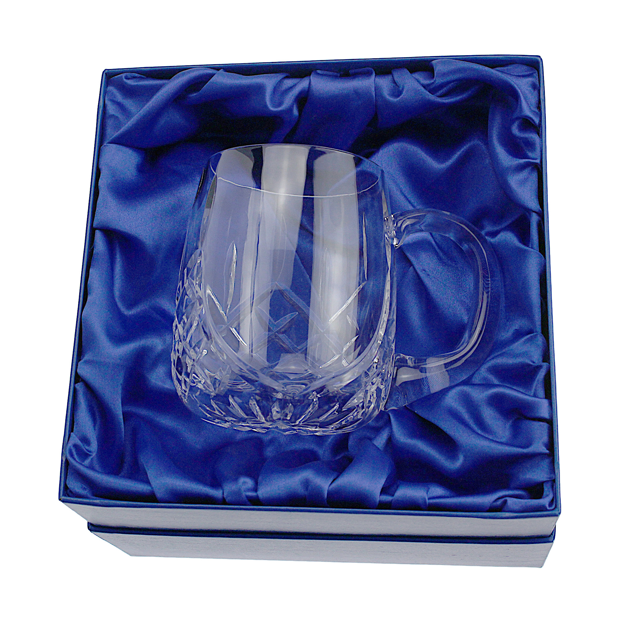 An image of Lead Crystal Cut 1 Pint Glass Short Round Tankard