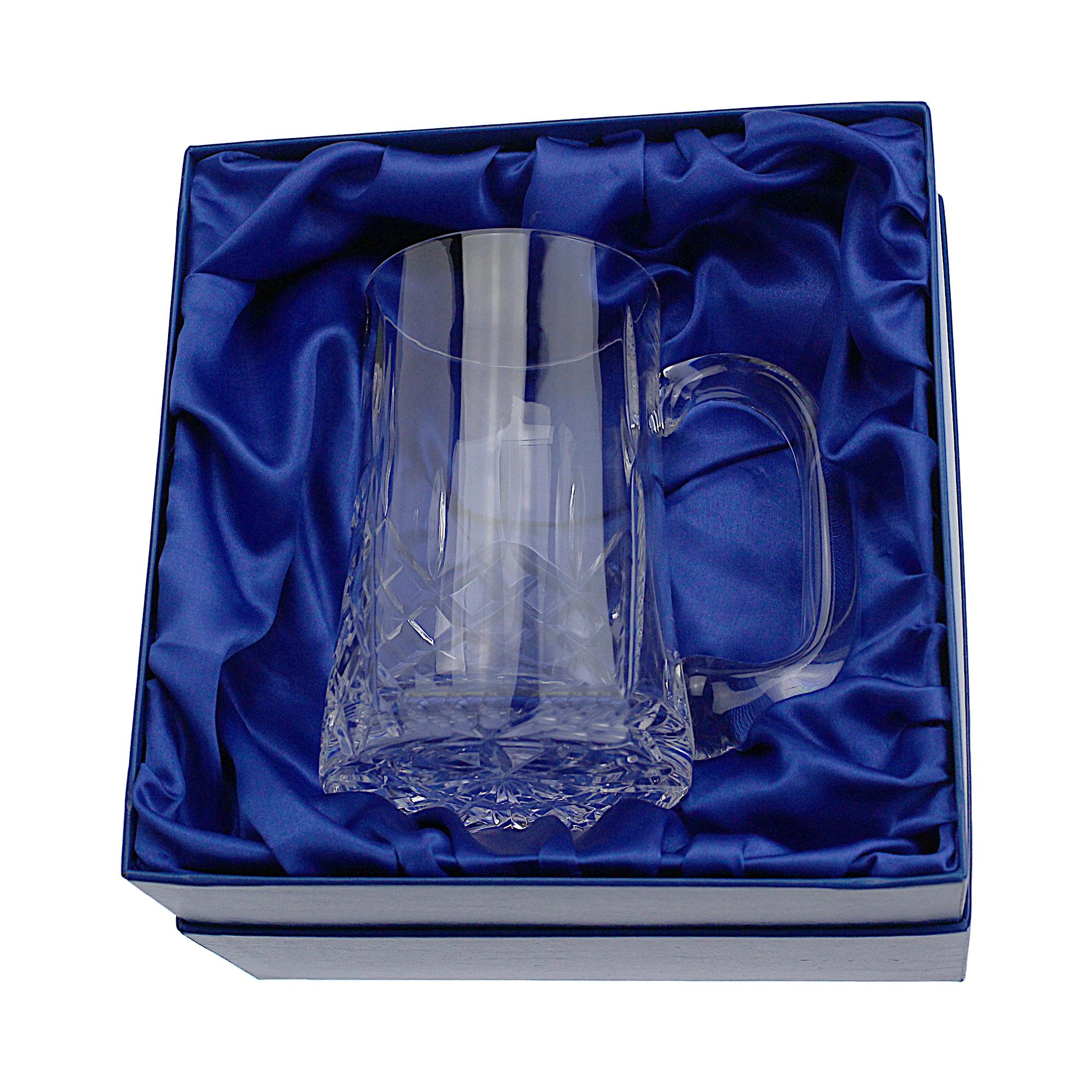 An image of Lead Crystal Cut 1 Pint Glass Tall Straight Tankard