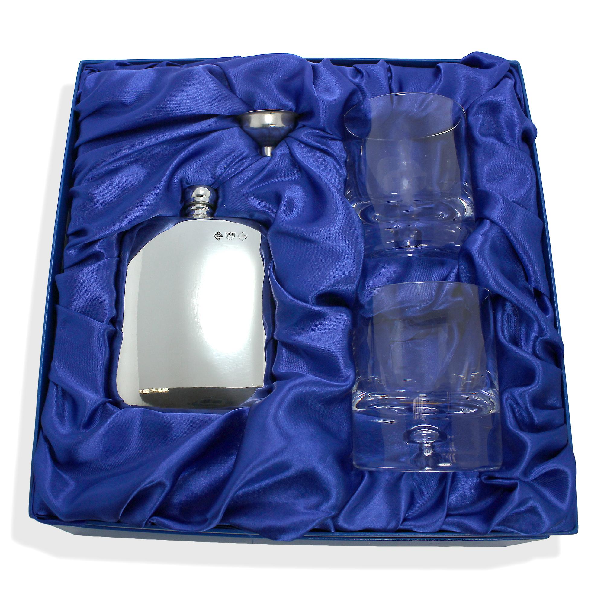 An image of 6oz Pewter Flask 2 8oz Engravable Bubble Based Tumbler Set