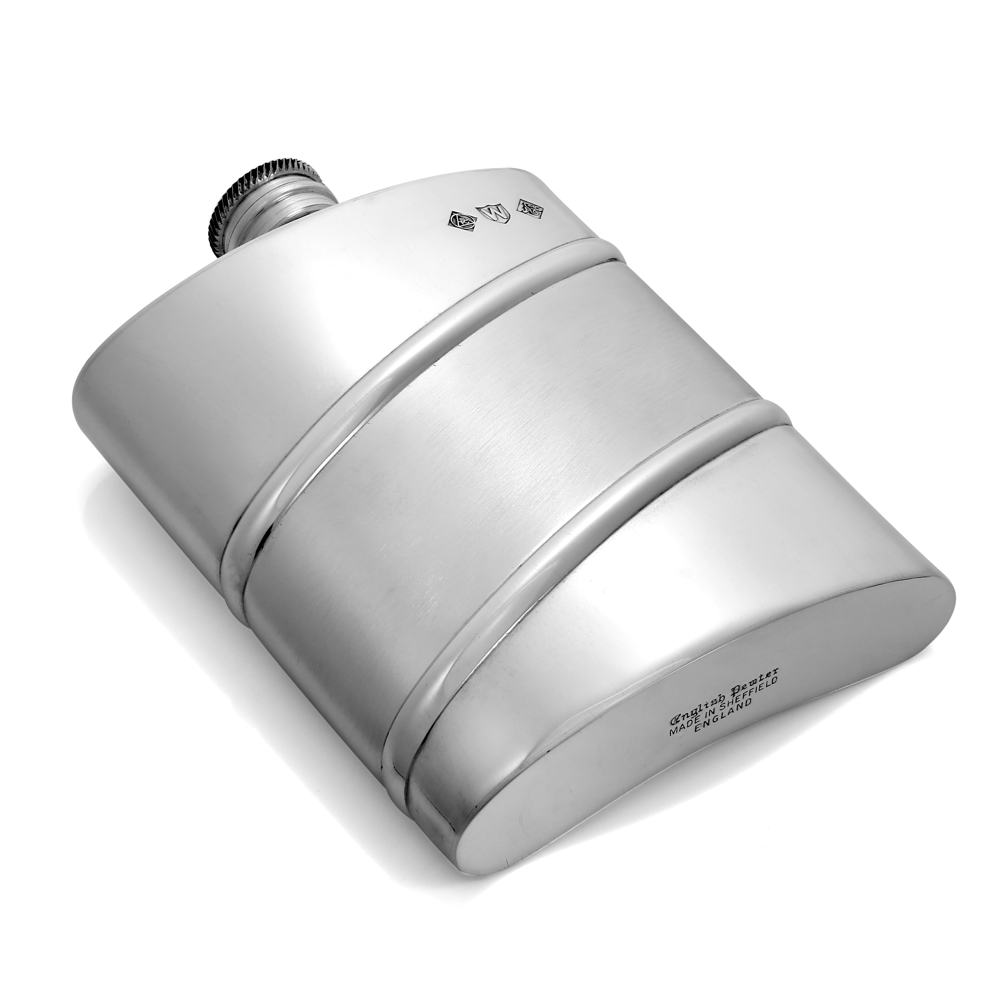 An image of 6oz Handmade Pewter Hip Flask with Diagonal Satin Band