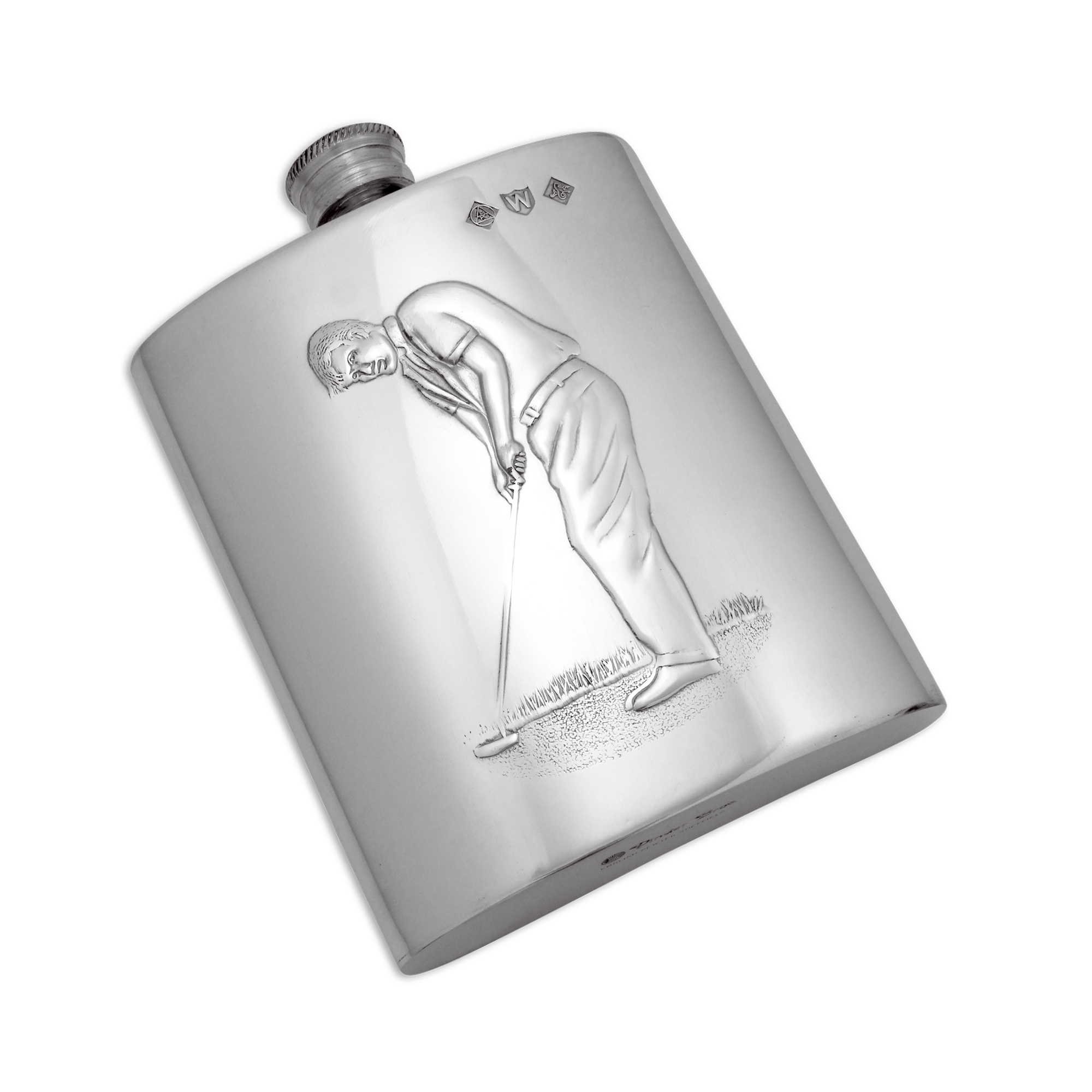 An image of Handmade 6oz Pewter Golfer Hip Flask