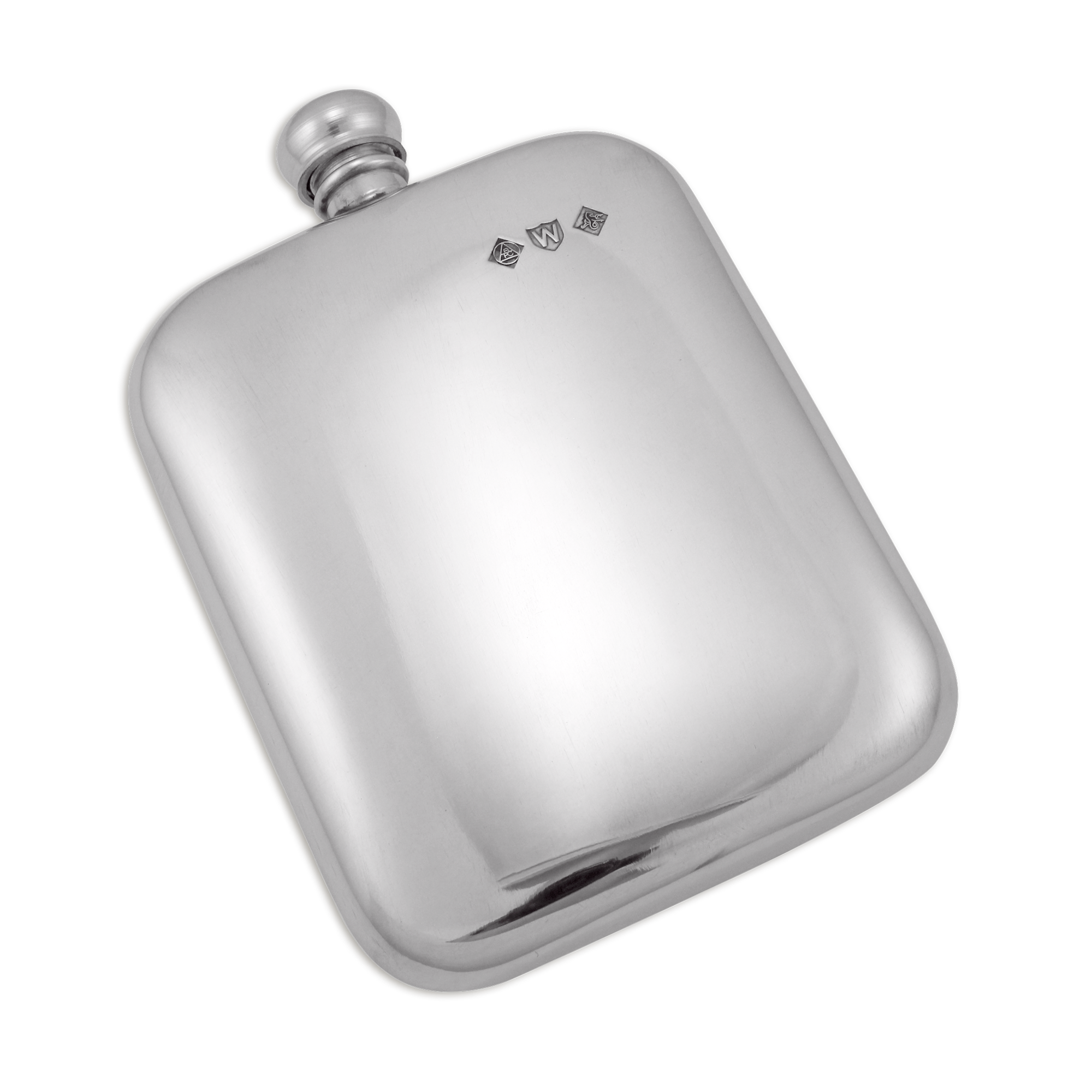 An image of Sayers London Handmade Classic 6oz Pewter Engravable Hip Flask