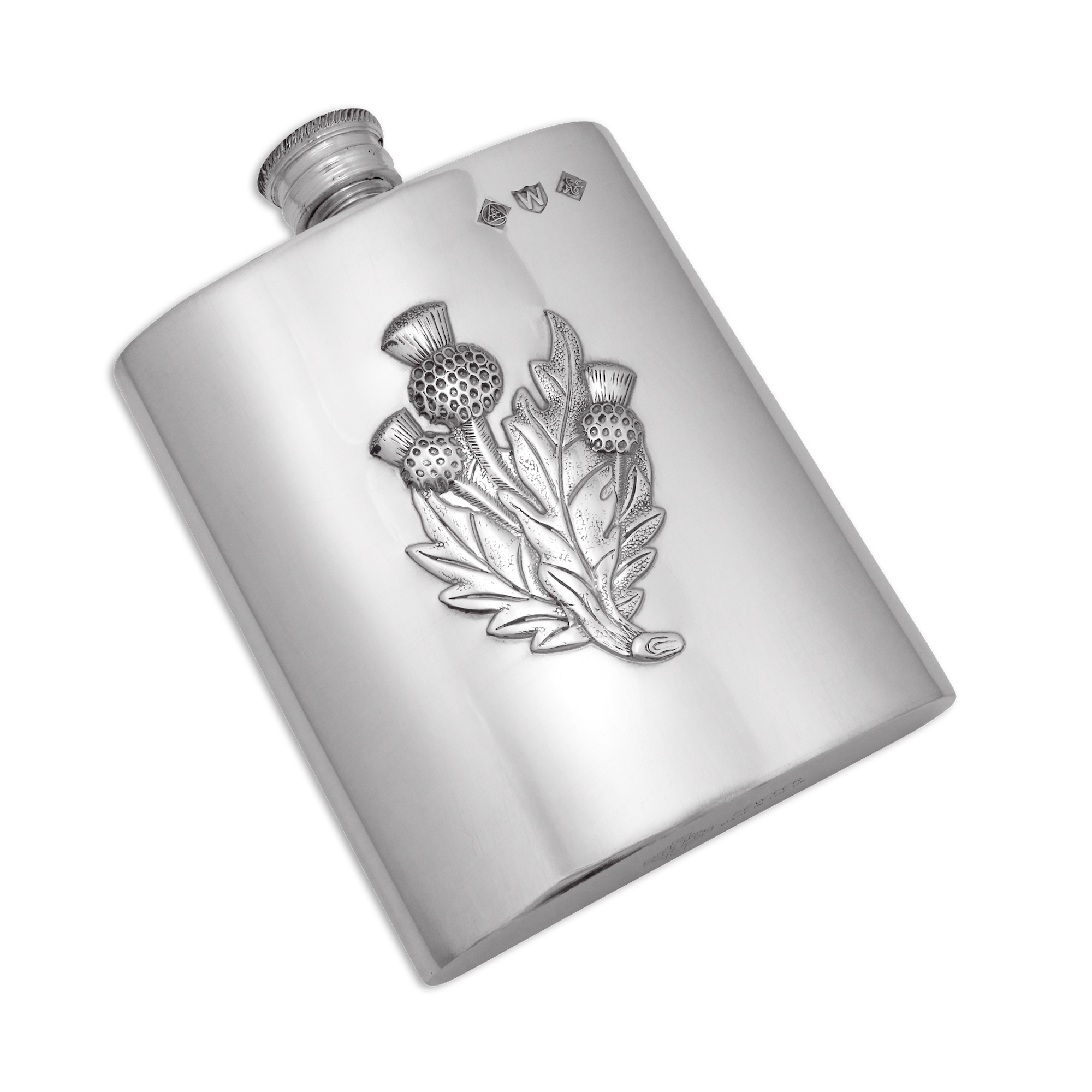 An image of 6oz Handmade Pewter Thistle Hip Flask