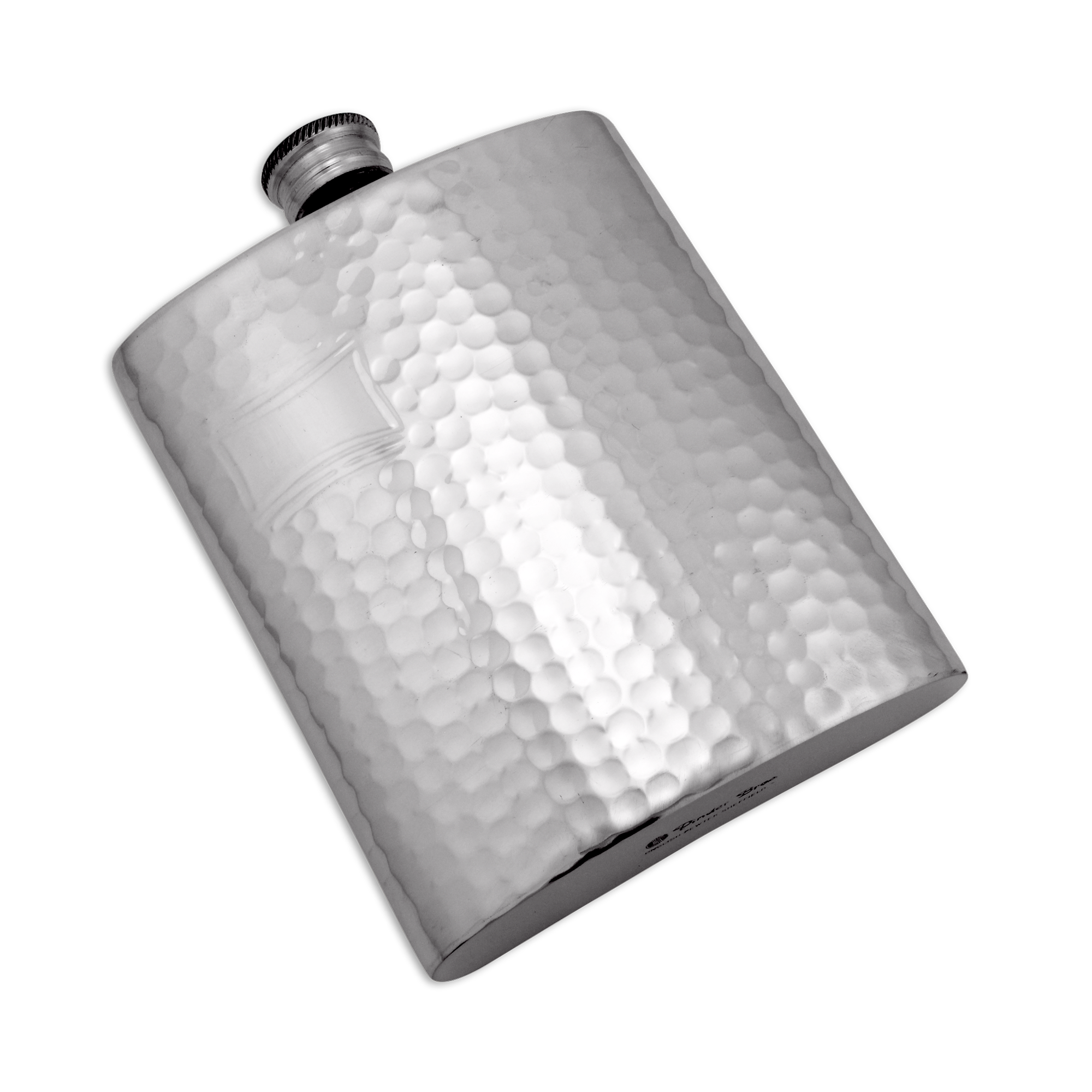 An image of 6oz Handmade Hammered Pewter Hip Flask with Engraving Plate