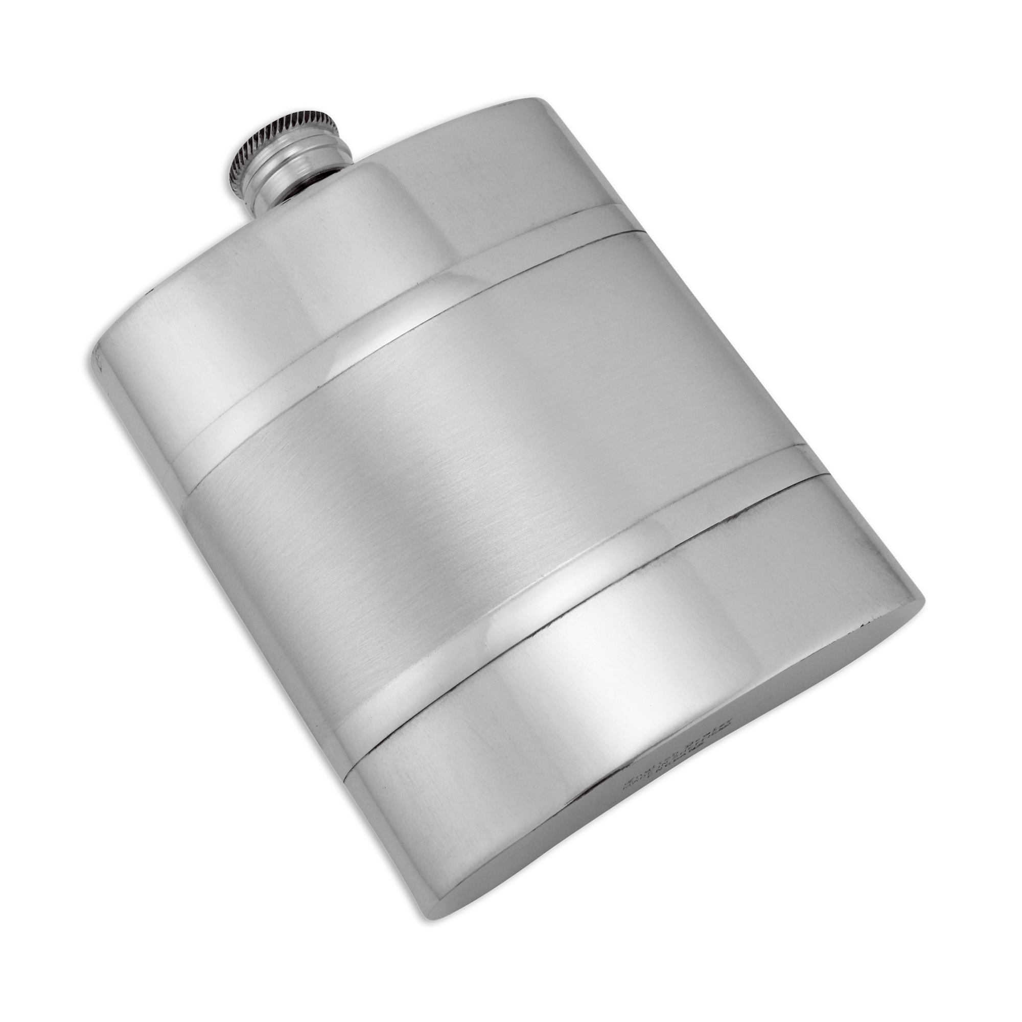 An image of 6oz Handmade Pewter Hip Flask with Satin Band
