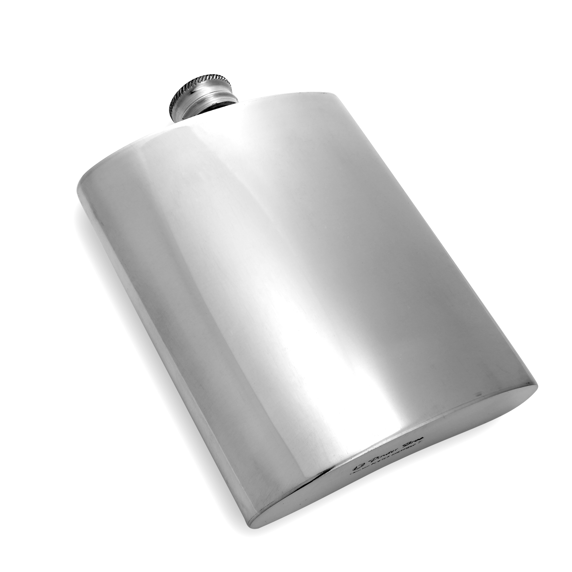 An image of 6oz Handmade Plain Pewter Engravable Hip Flask