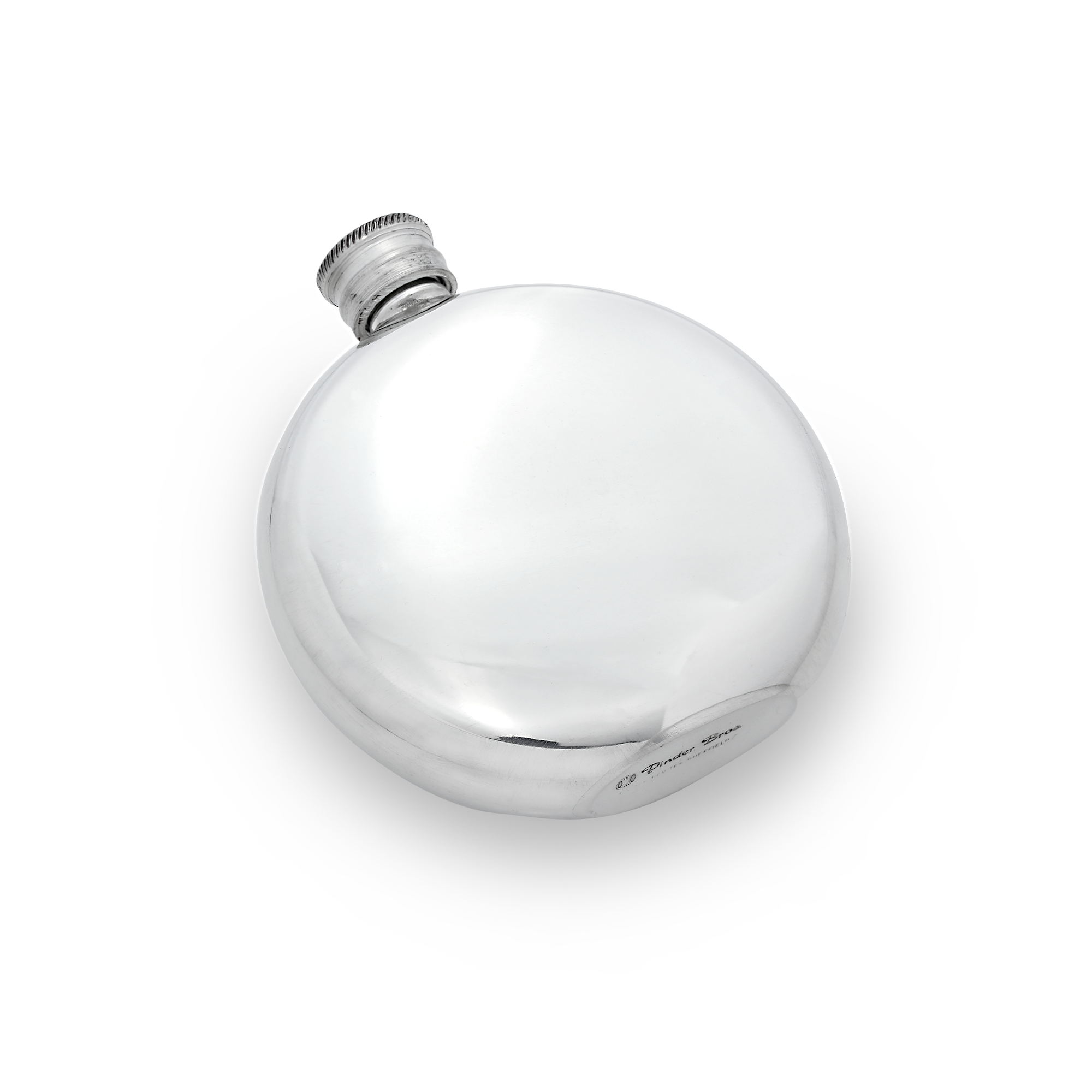 An image of 6oz Handmade Plain Round Pewter Engravable Hip Flask