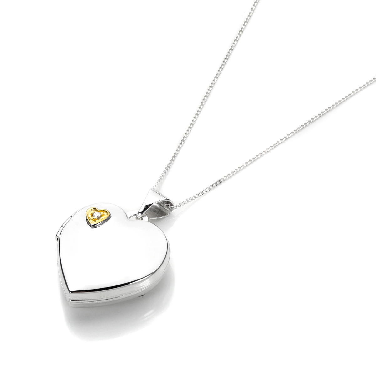 An image of White Gold Heart Shape Locket with Diamond