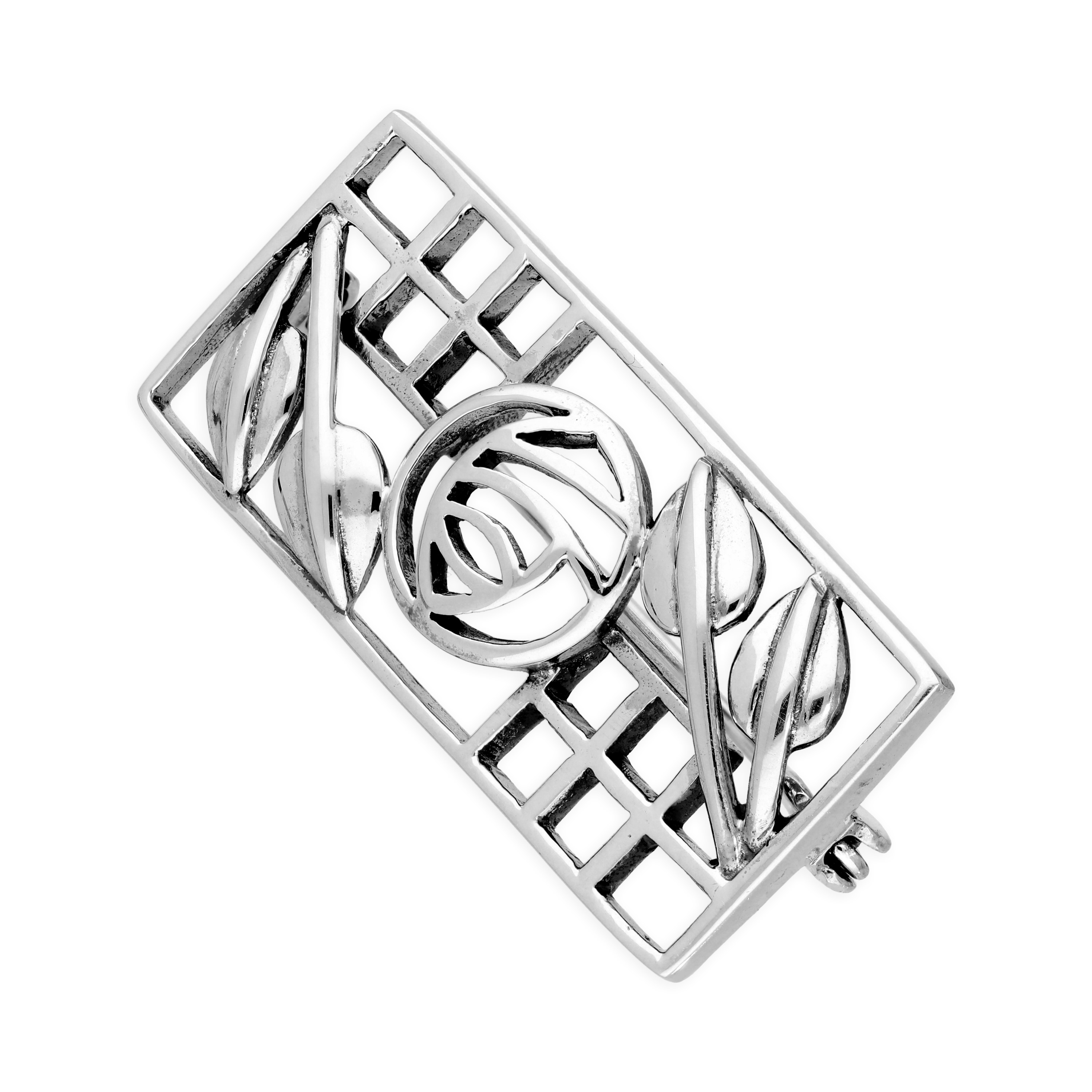 An image of Sterling Silver Rectangular Mackintosh Brooch