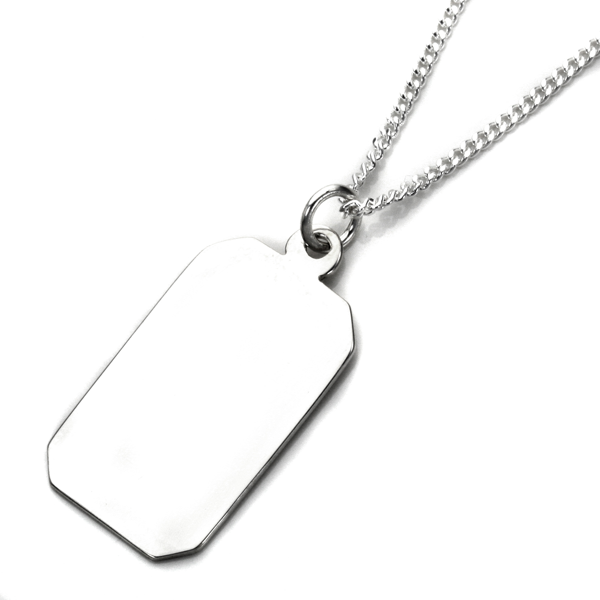 An image of Sterling Silver Large Engravable Rectangular Pendant