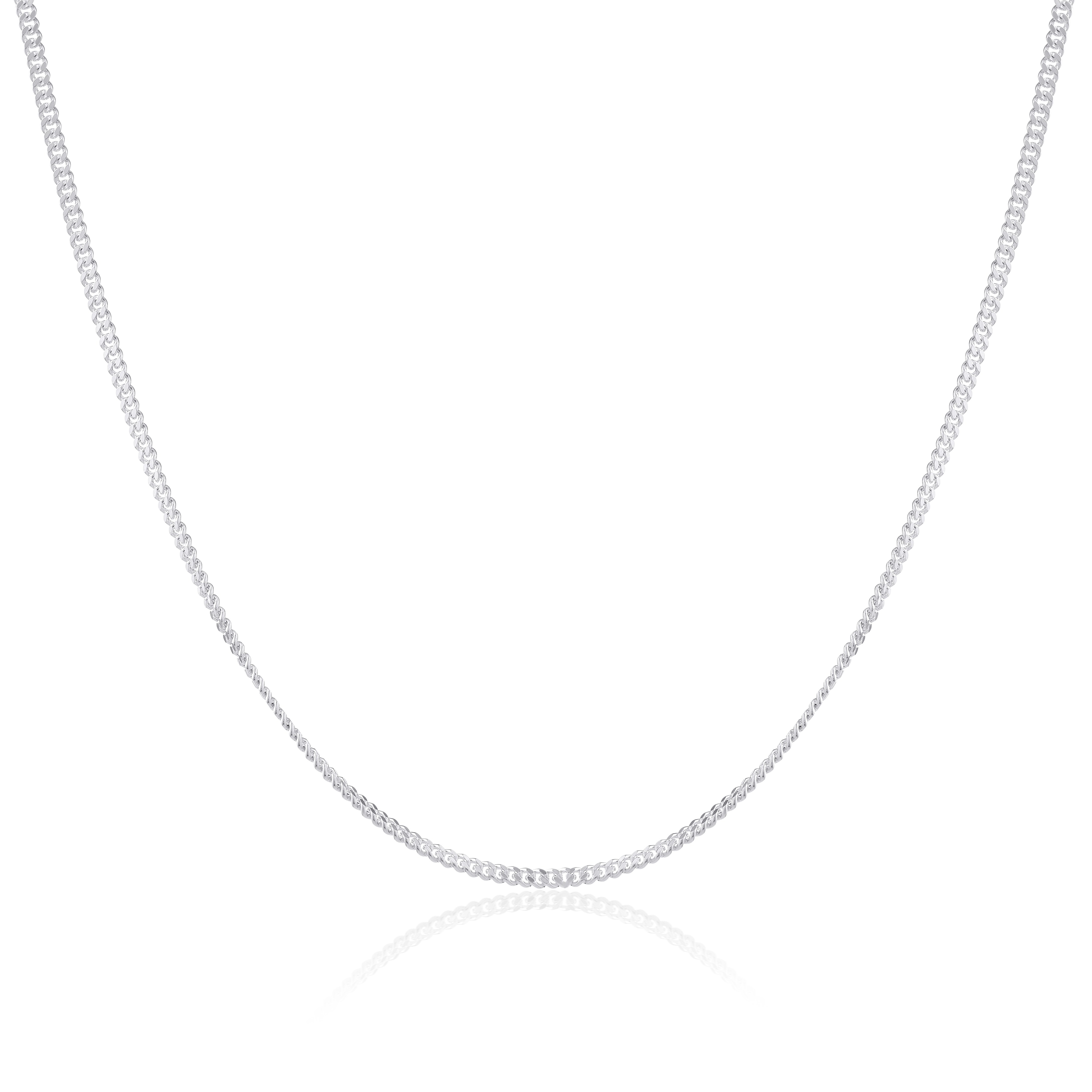 An image of Sterling Silver Diamond Cut Curb Chain