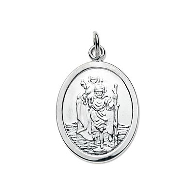 An image of Sterling Silver Oval Saint Christopher Pendant