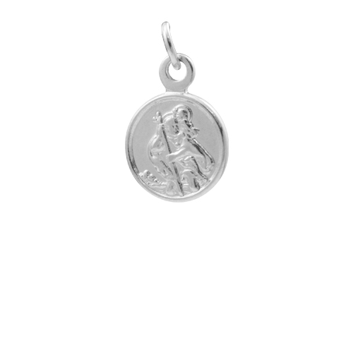 An image of Sterling Silver Small Round Saint Christopher Pendant