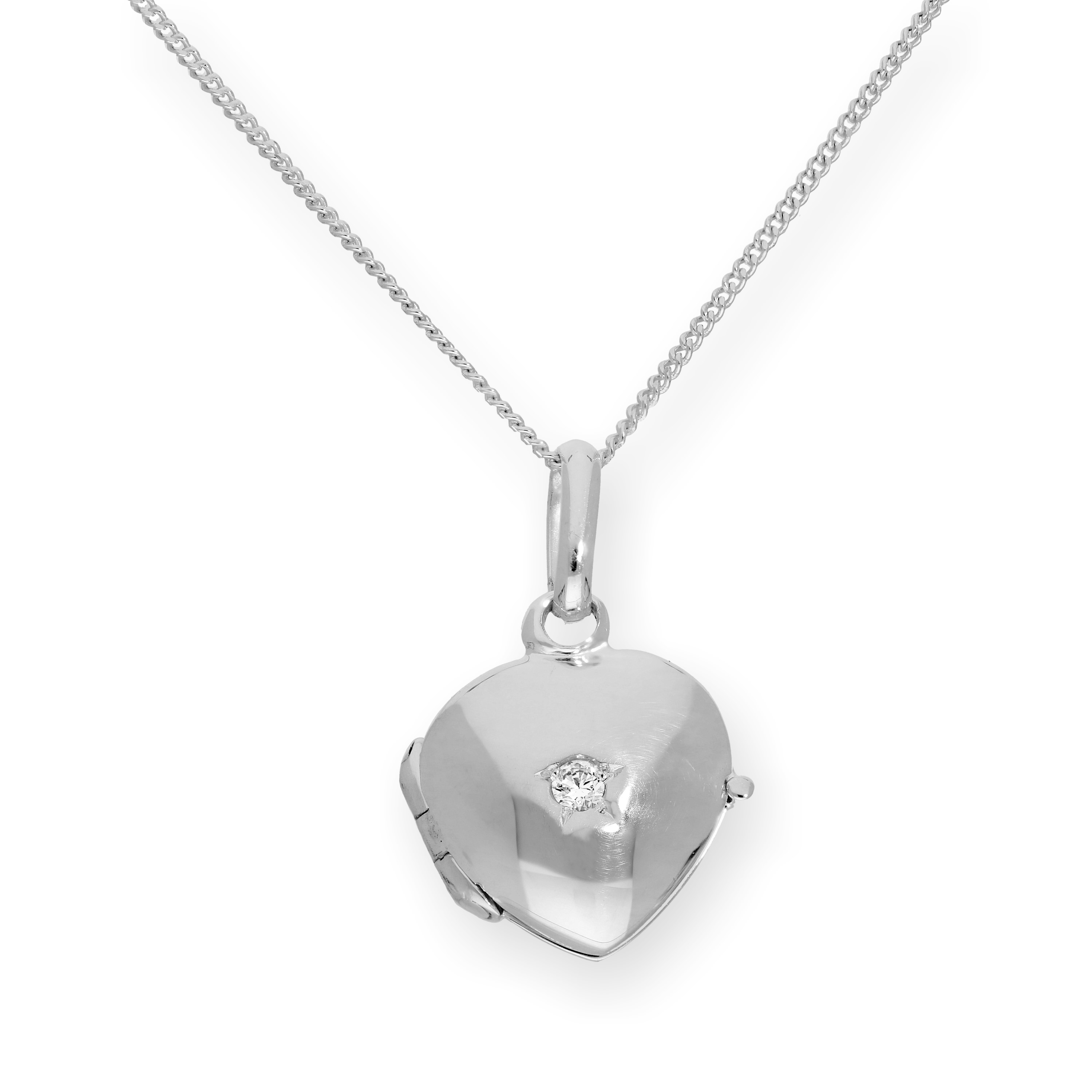 An image of Tiny Sterling Silver CZ Crystal Engravable Heart Locket on Chain 16 22 Inches