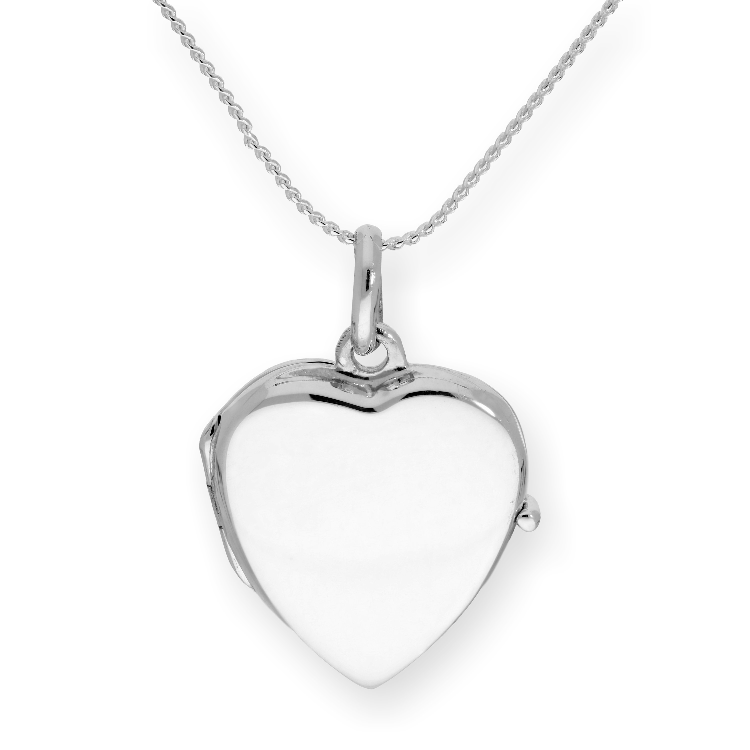An image of Sterling Silver Engravable Heart Locket on Chain 16 - 22 Inches