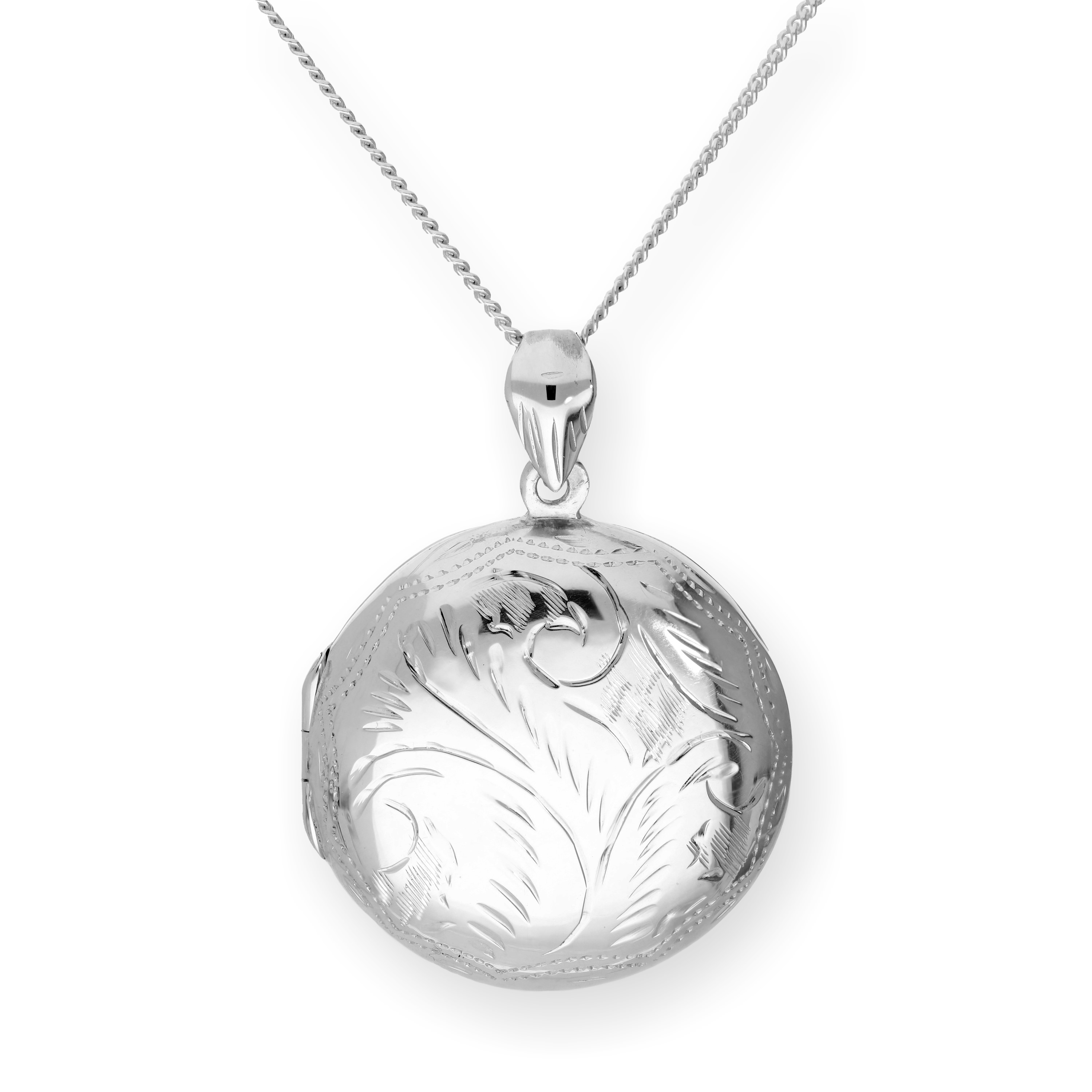 An image of Large Sterling Silver Engraved Round Locket on Chain 16 - 24 Inches