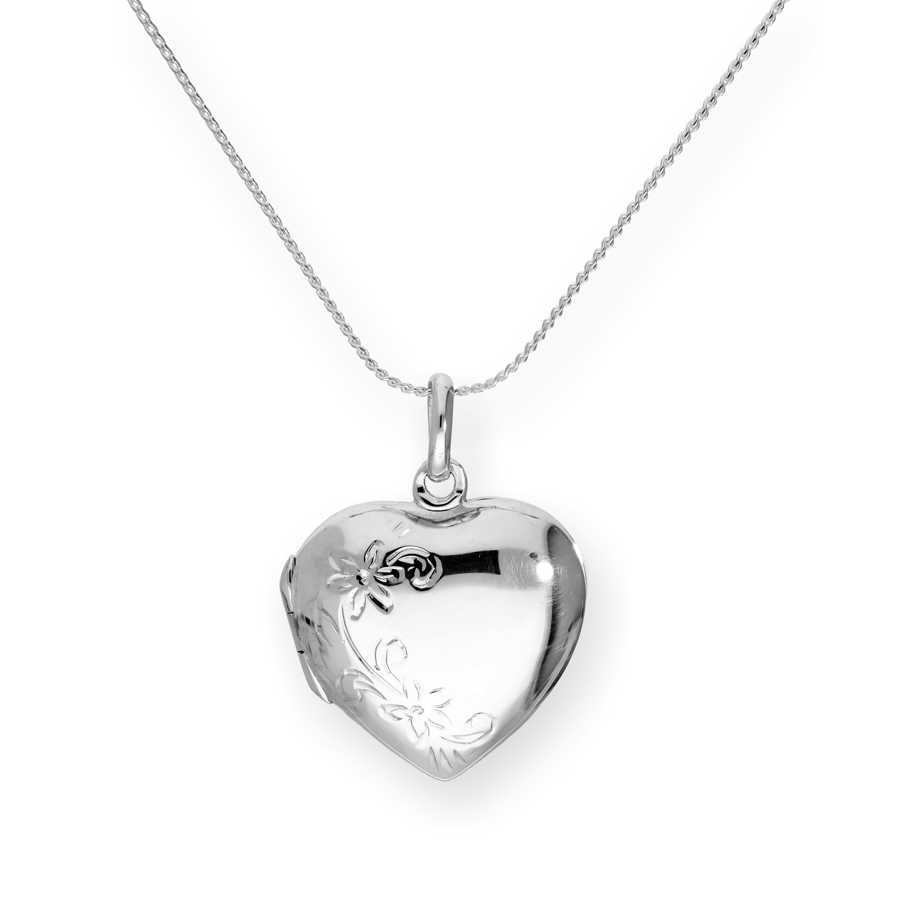 An image of Sterling Silver Engravable Floral Heart Locket on Chain 16 - 22 Inches