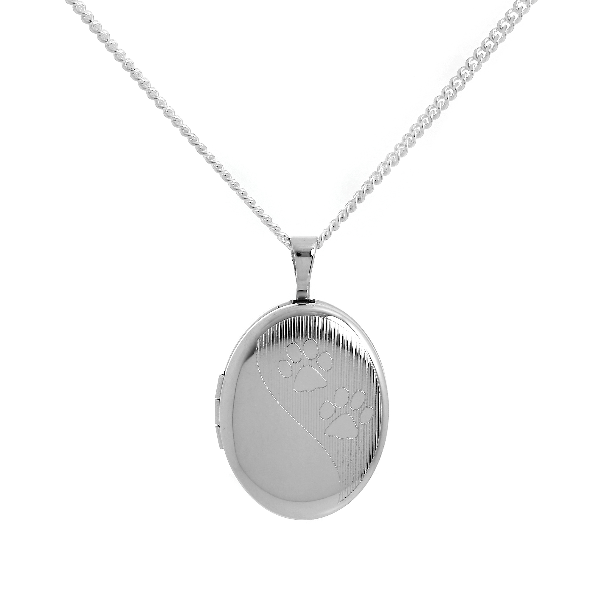 An image of Sterling Silver Animal Paw Print Oval Locket on Chain