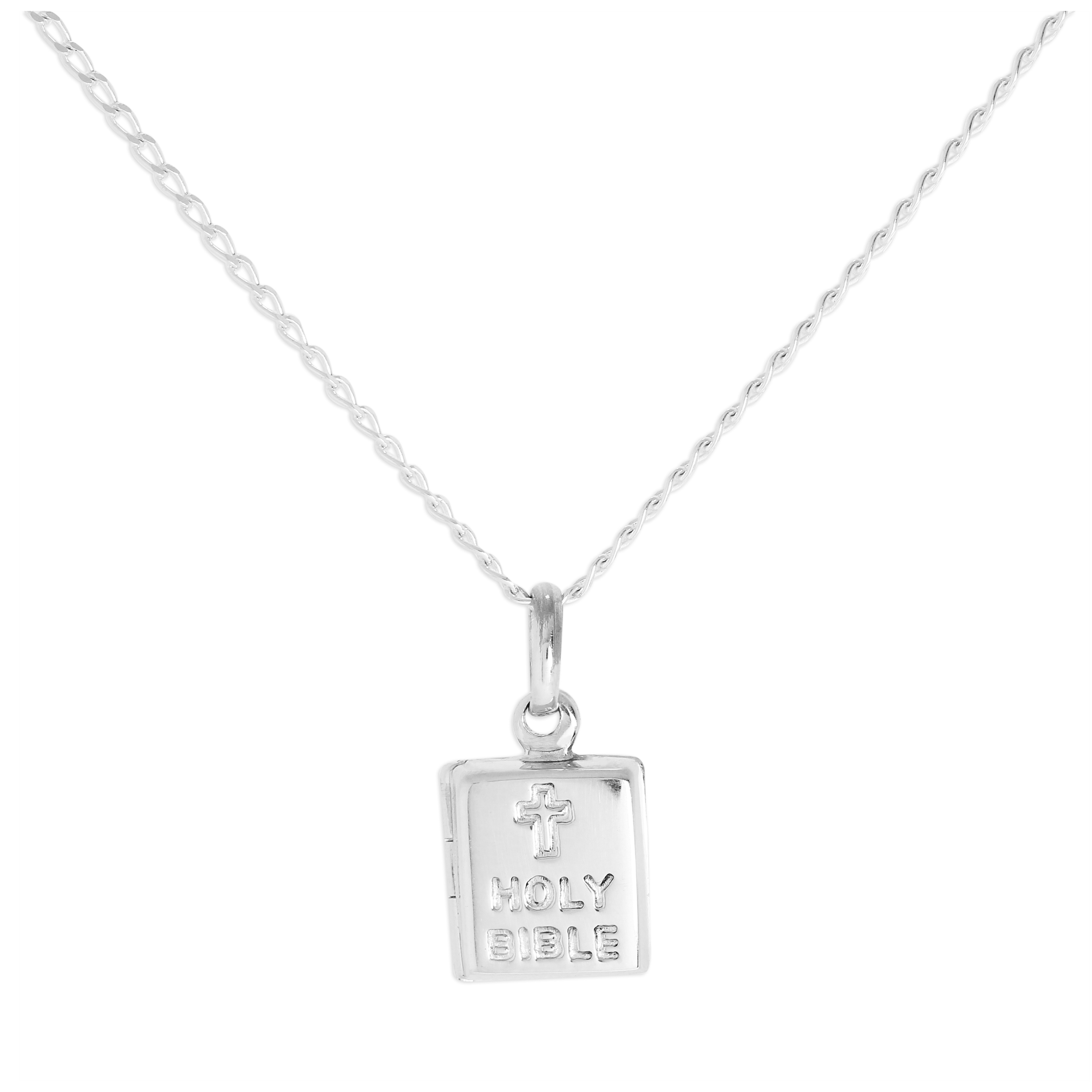 An image of Sterling Silver Holy Bible Locket on Chain 16 24 Inches