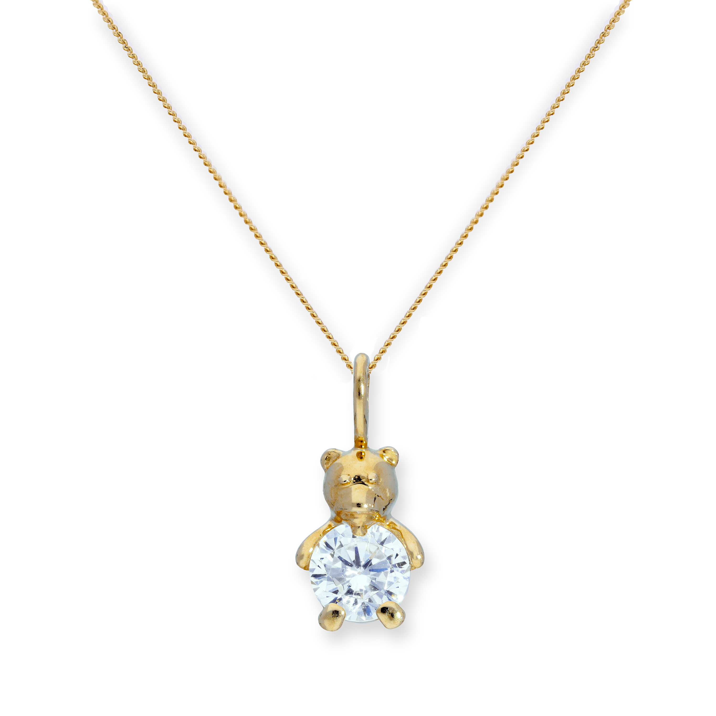 An image of 9ct Gold Clear CZ Crystal Teddy Bear Pendant on Chain 16 20 Inches