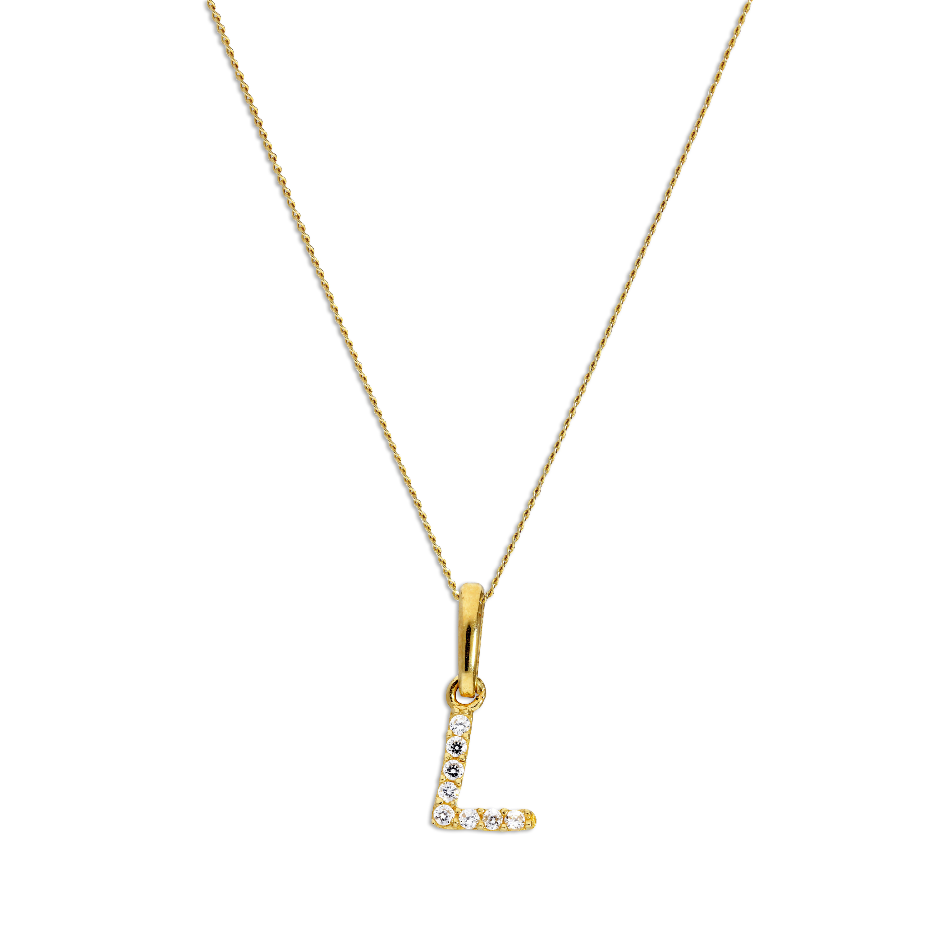 An image of 9ct Gold Clear CZ Crystal Script Alphabet Letter L Necklace 16 Inches Chain