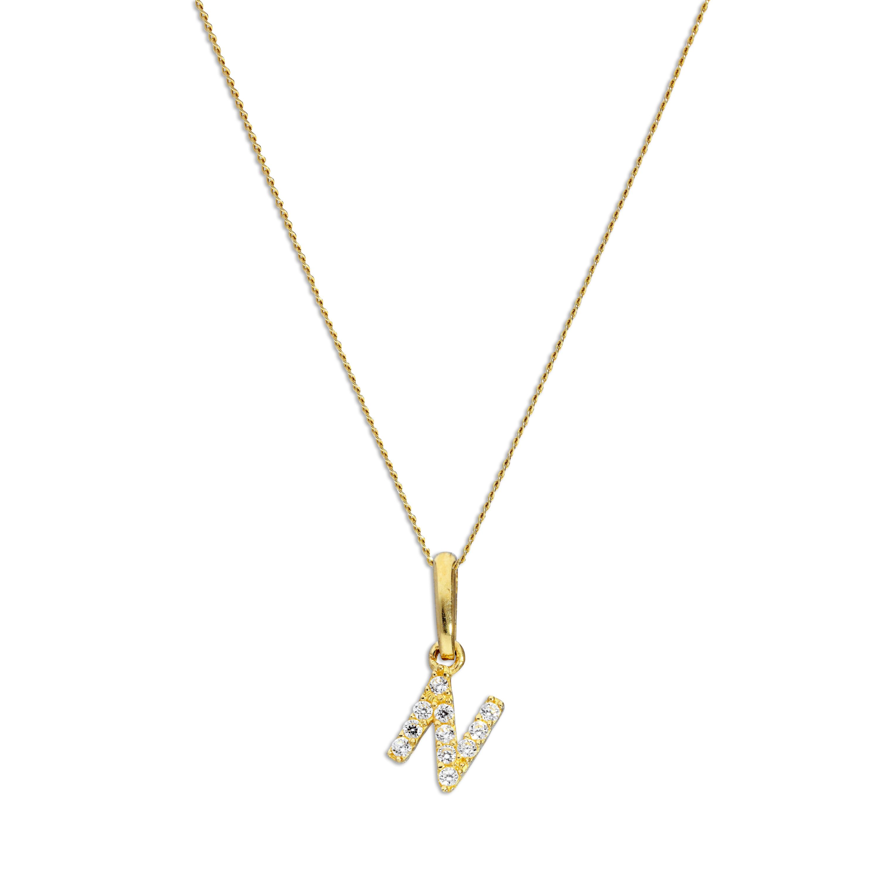 An image of 9ct Gold Clear CZ Crystal Script Alphabet Letter N Necklace 16 Inches Chain