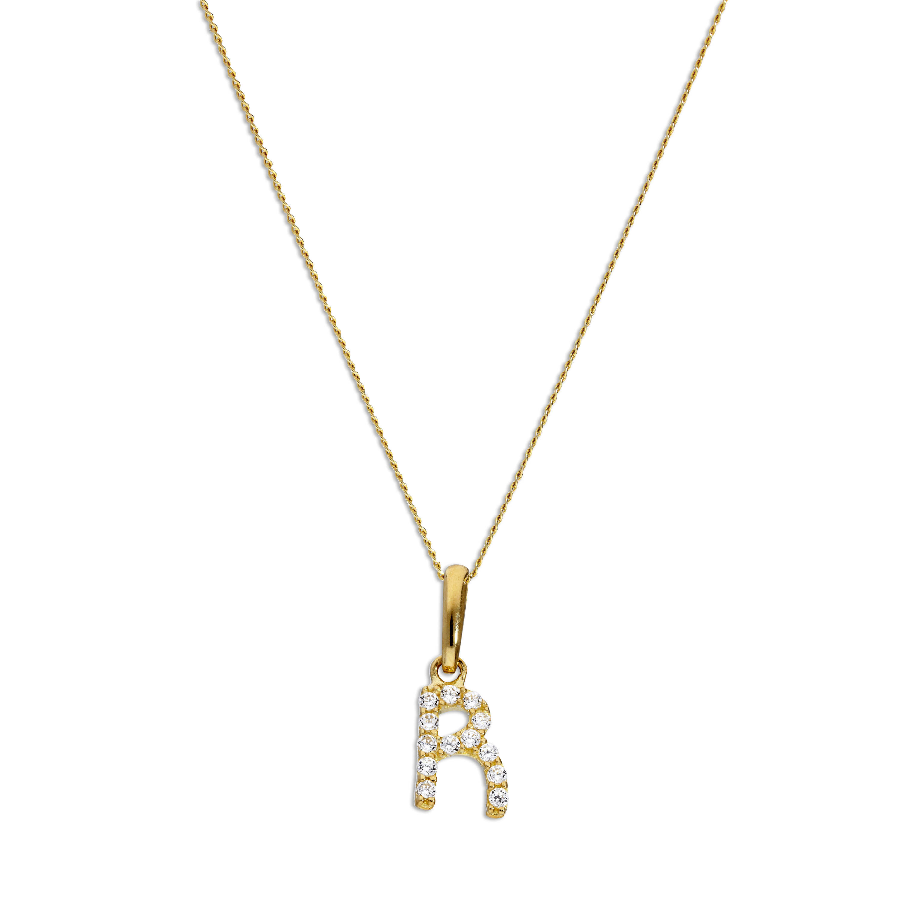 An image of 9ct Gold Clear CZ Crystal Script Alphabet Letter R Necklace 16 20 Inches