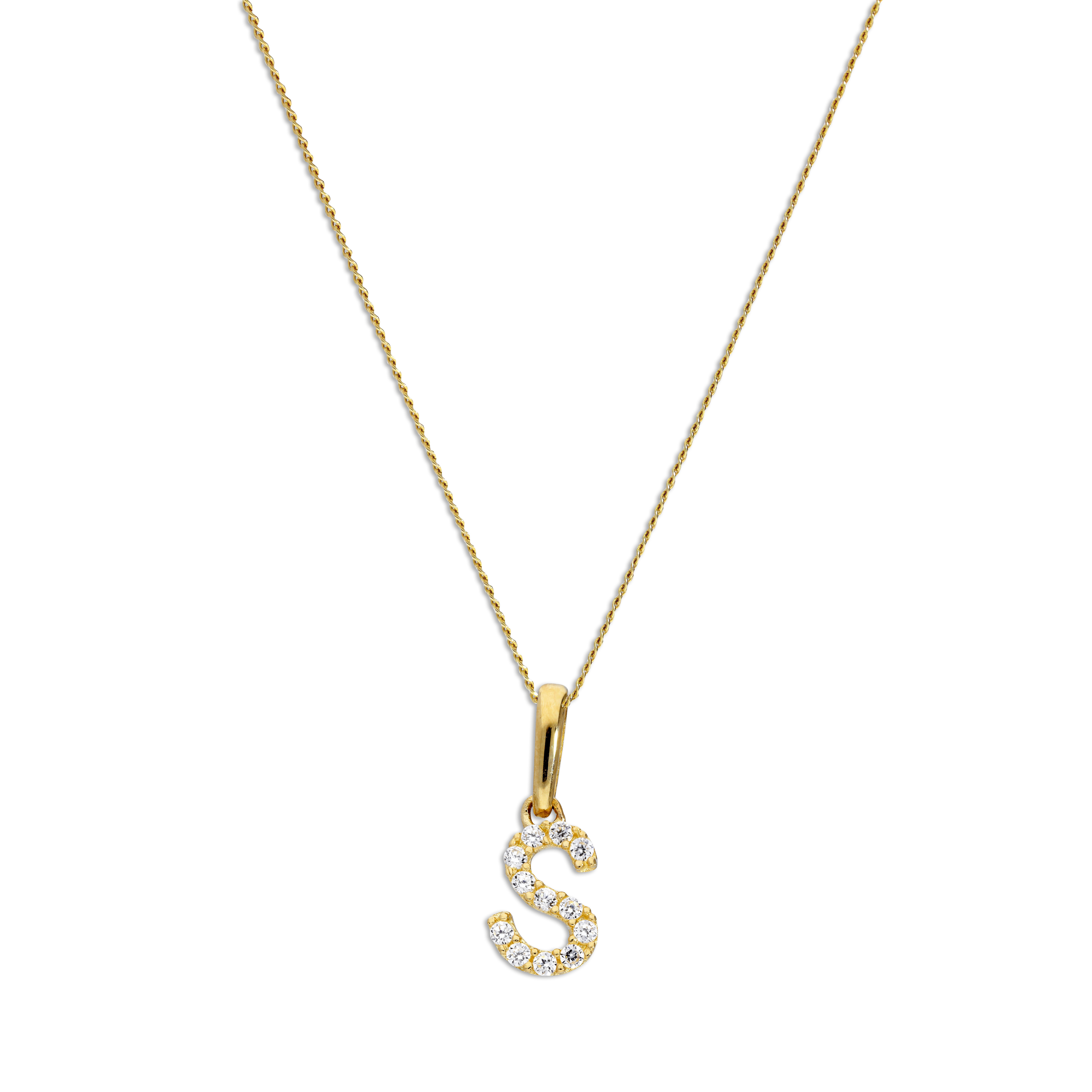 An image of 9ct Gold Clear CZ Crystal Script Alphabet Letter S Necklace 18 Inches Chain