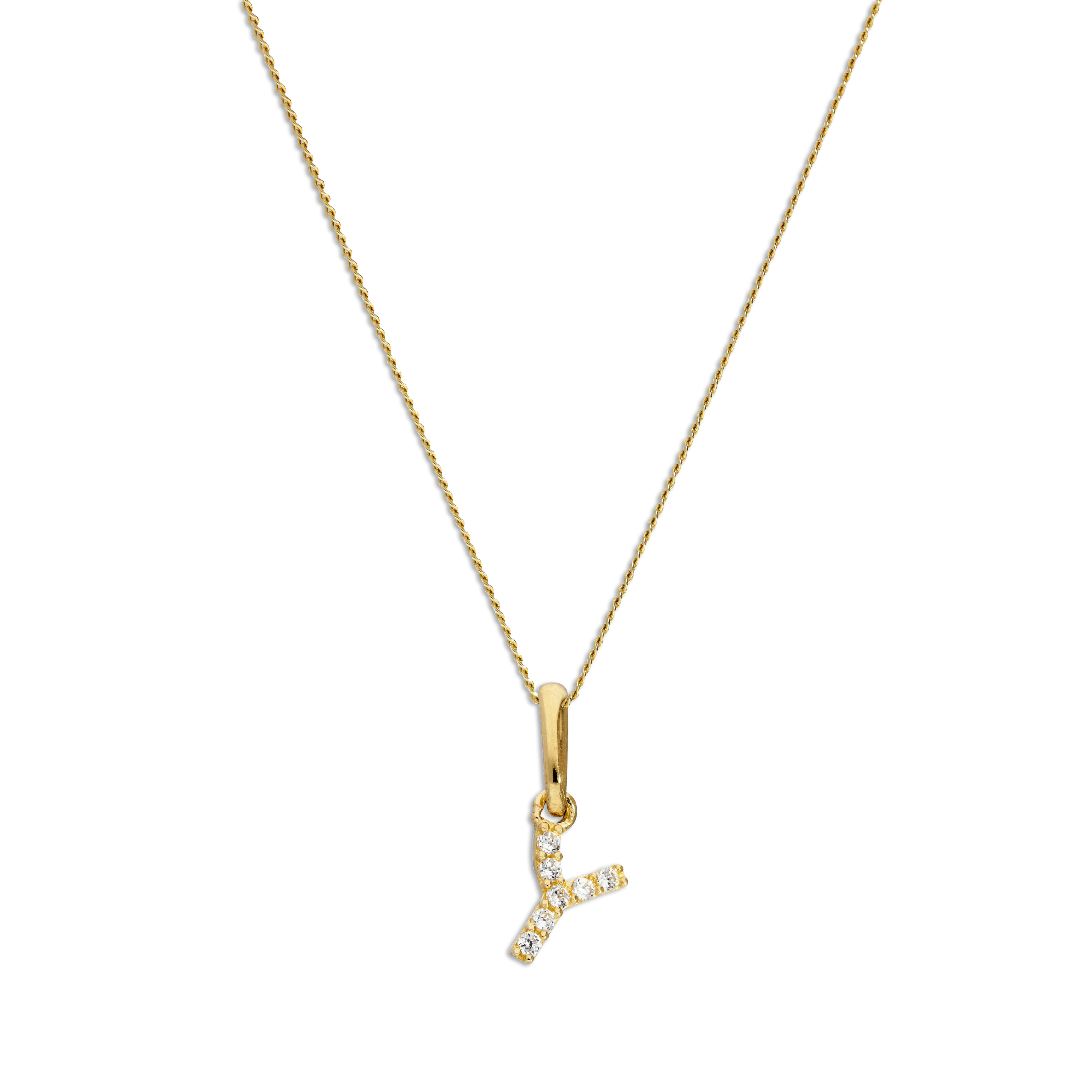 An image of 9ct Gold Clear CZ Crystal Script Alphabet Letter Y Necklace 18 Inches Chain