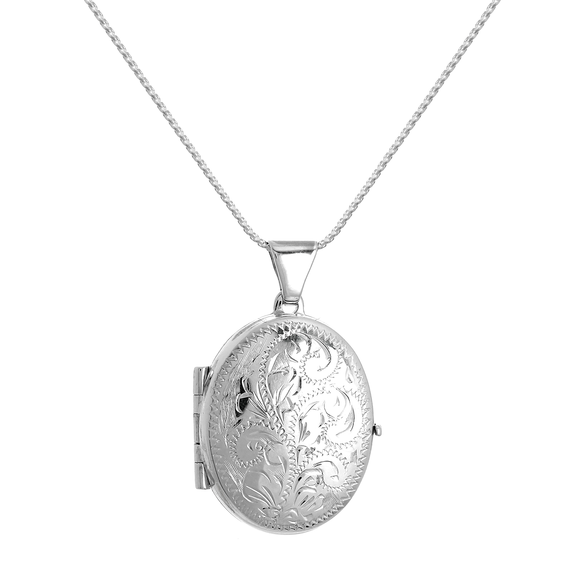 An image of Sterling Silver Engraved Oval 4 Photo Family Locket on 28 Inch Chain