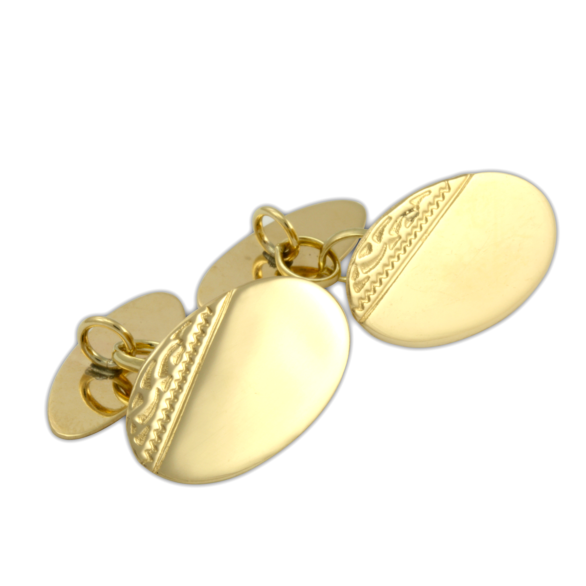 An image of 9ct Gold Engraved Oval Cufflinks